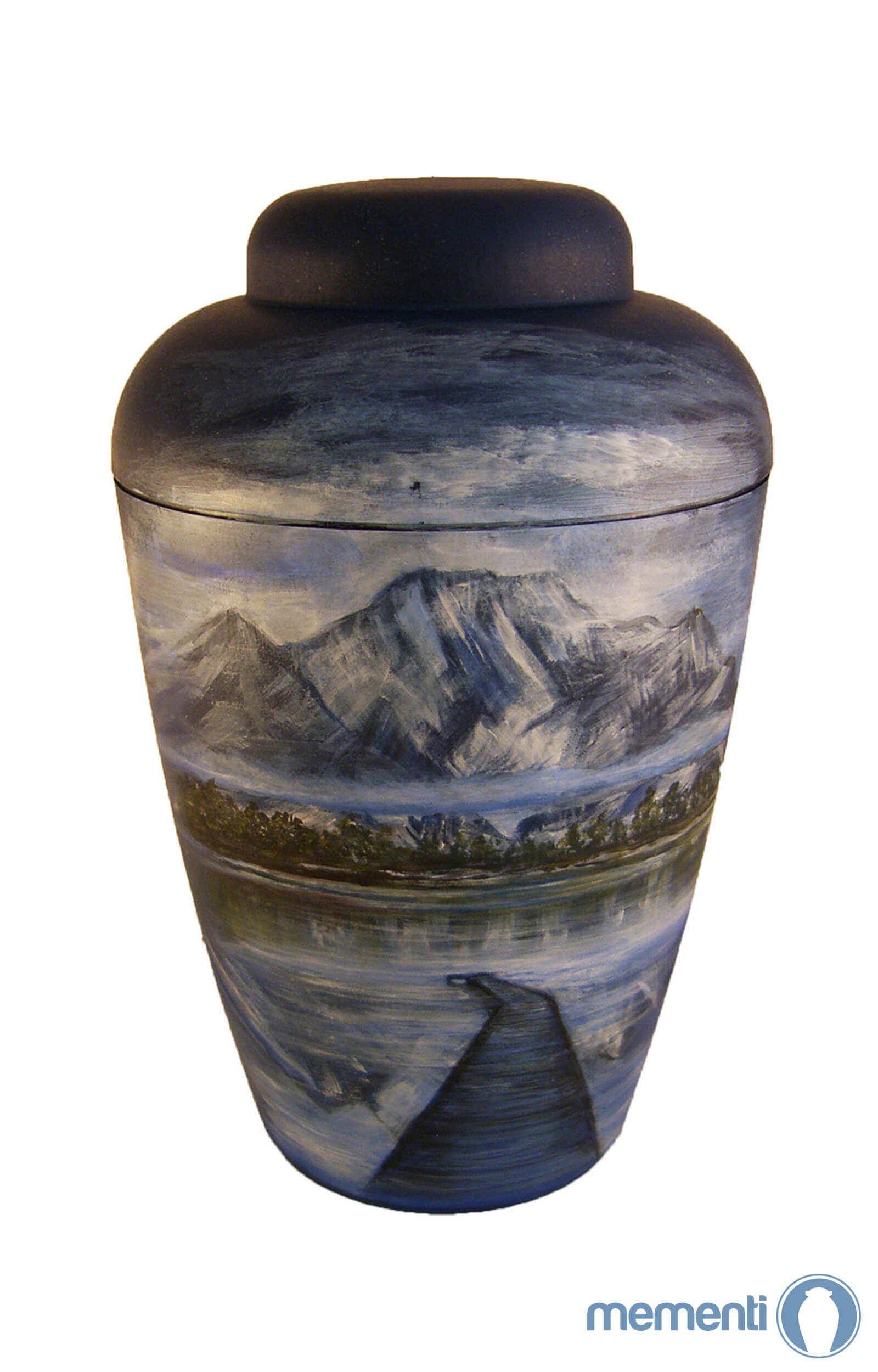 de BB1403 Kuenstler Urne blau Berg See Alpen Bruecke Bio Urnen kaufen