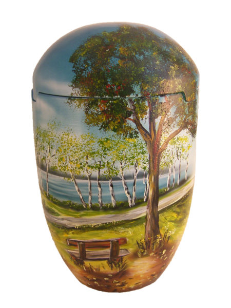 de SBB7024 Seeurne Urne Baum Bank See himmelblau Meer hellgrün Biourne Urnen kaufen