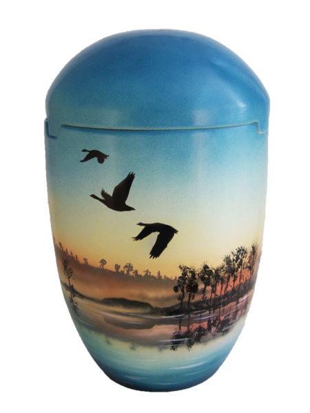 de SBG7030 Seeurne blau himmelblau Sonnenaufgang Vogel Bio Urne Urne kaufen