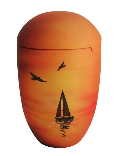 de SOB7027 Seeurne Urne Sonnenuntergang Segelboot gelb rot orange See Urnen kaufen