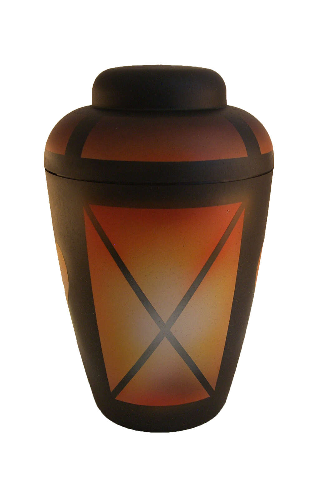 en BAS1310 airbrush funeral urn for human ashes orange black gold biodigradable urn