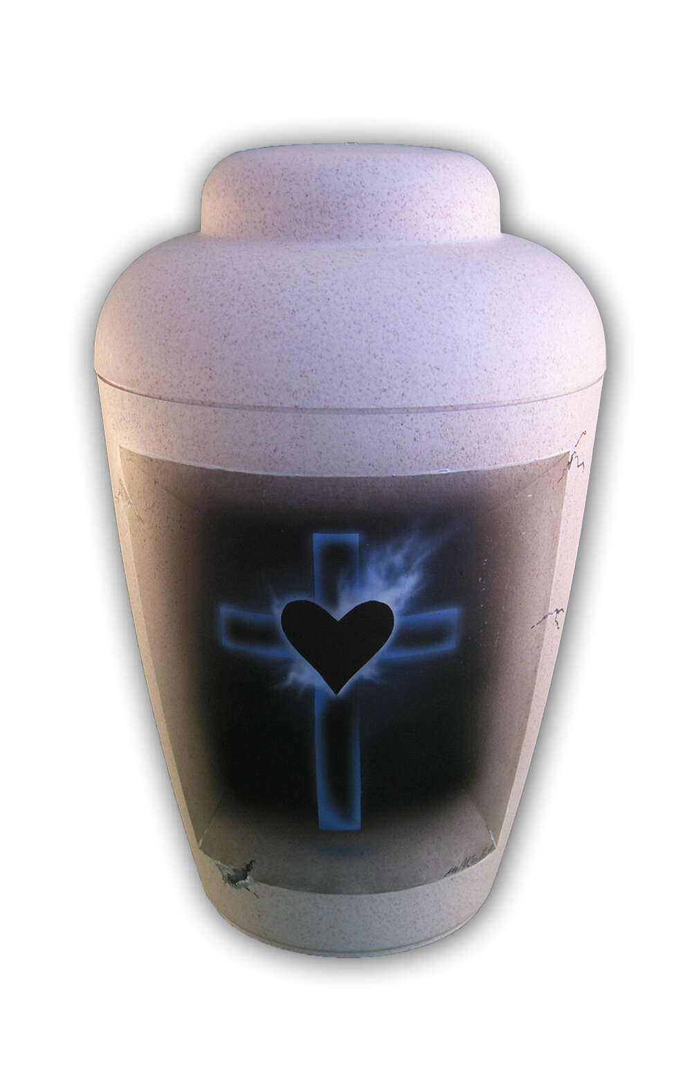 en BAW1309 biodigradable urn airbrush cross blue heart black white funeral urns on sale