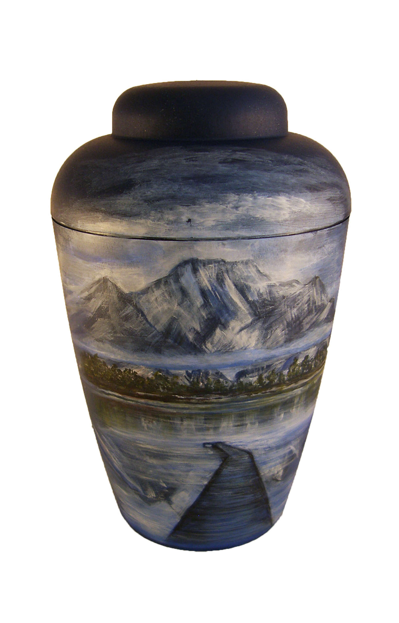 en BB1403 artist blue mountain lake alps bridge funeral urn for human ashes