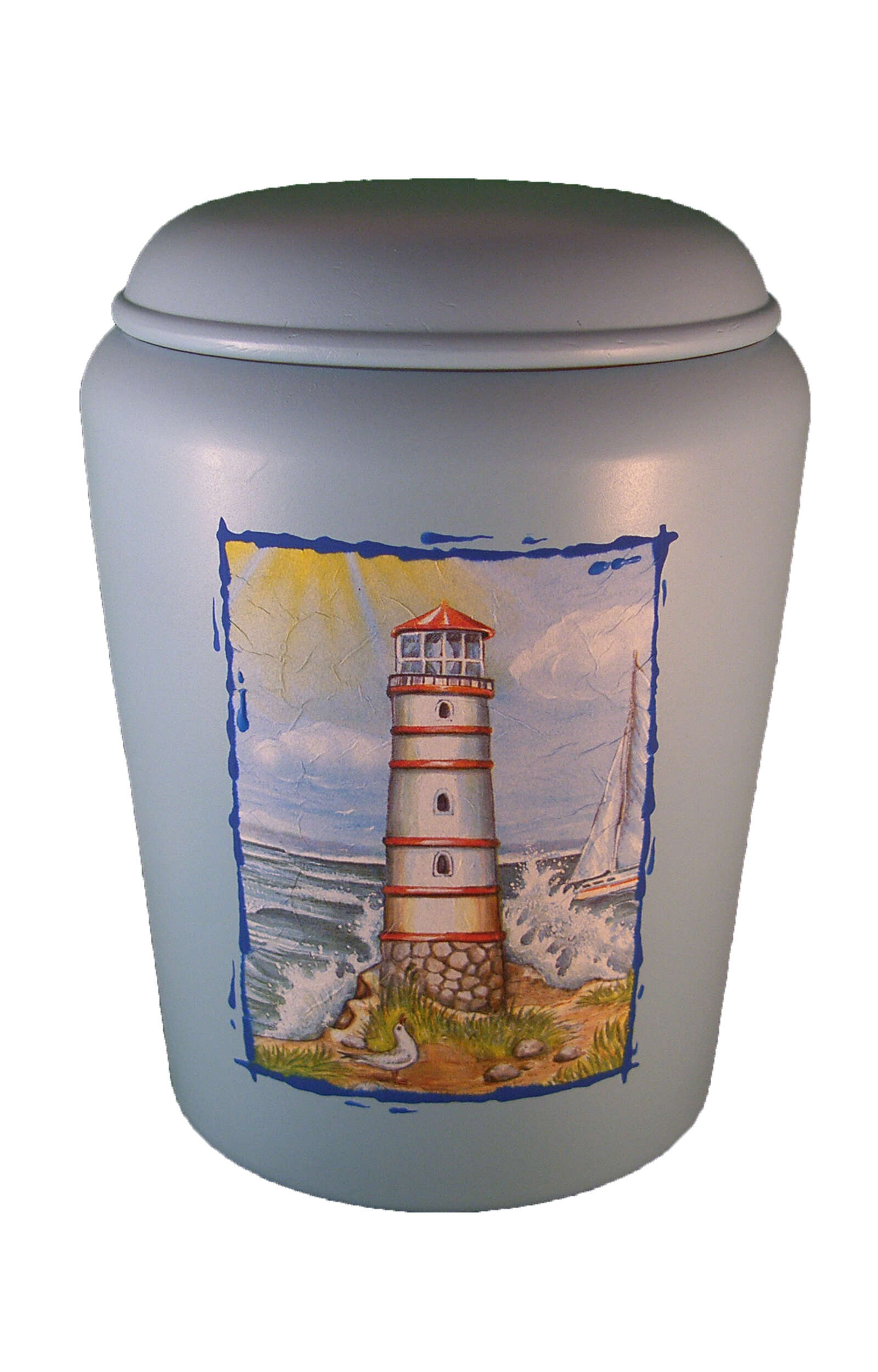 en BBL1730 biodigradable urn lighthouse light blue Nona Mela funeral urn for human ashes