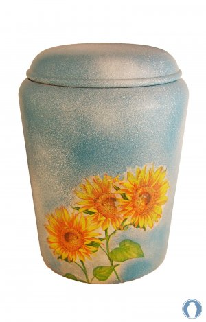 en BBS1725 biodigradable urn sunflower sky blue yellow funeral urn for human ashes