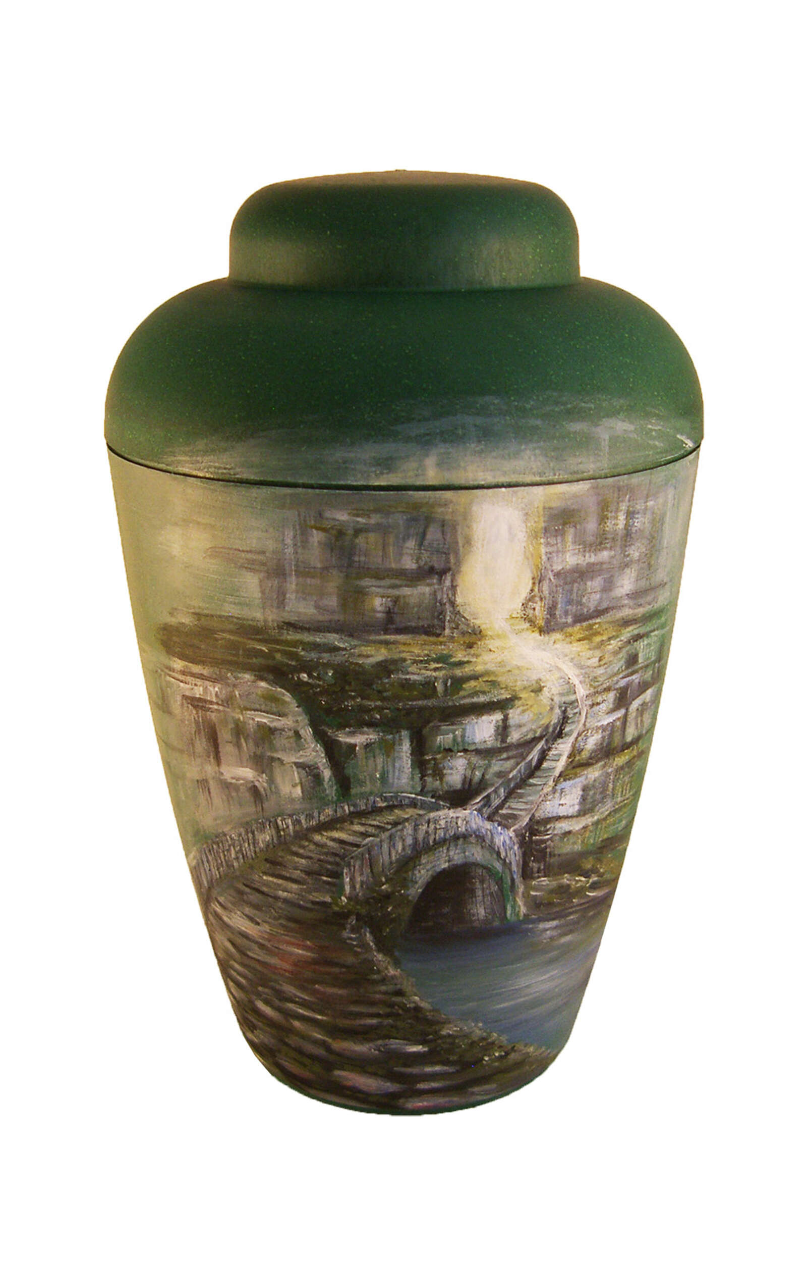 en BG1405 Artist urn green bridge to afterworld hand painted funeral urn for human ashes