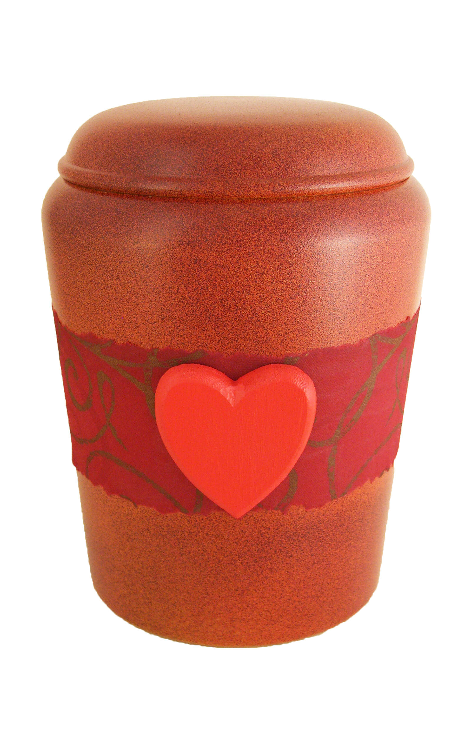 en BOH1724 biodigradable urn heart red Nona Mela funeral urn for human ashes