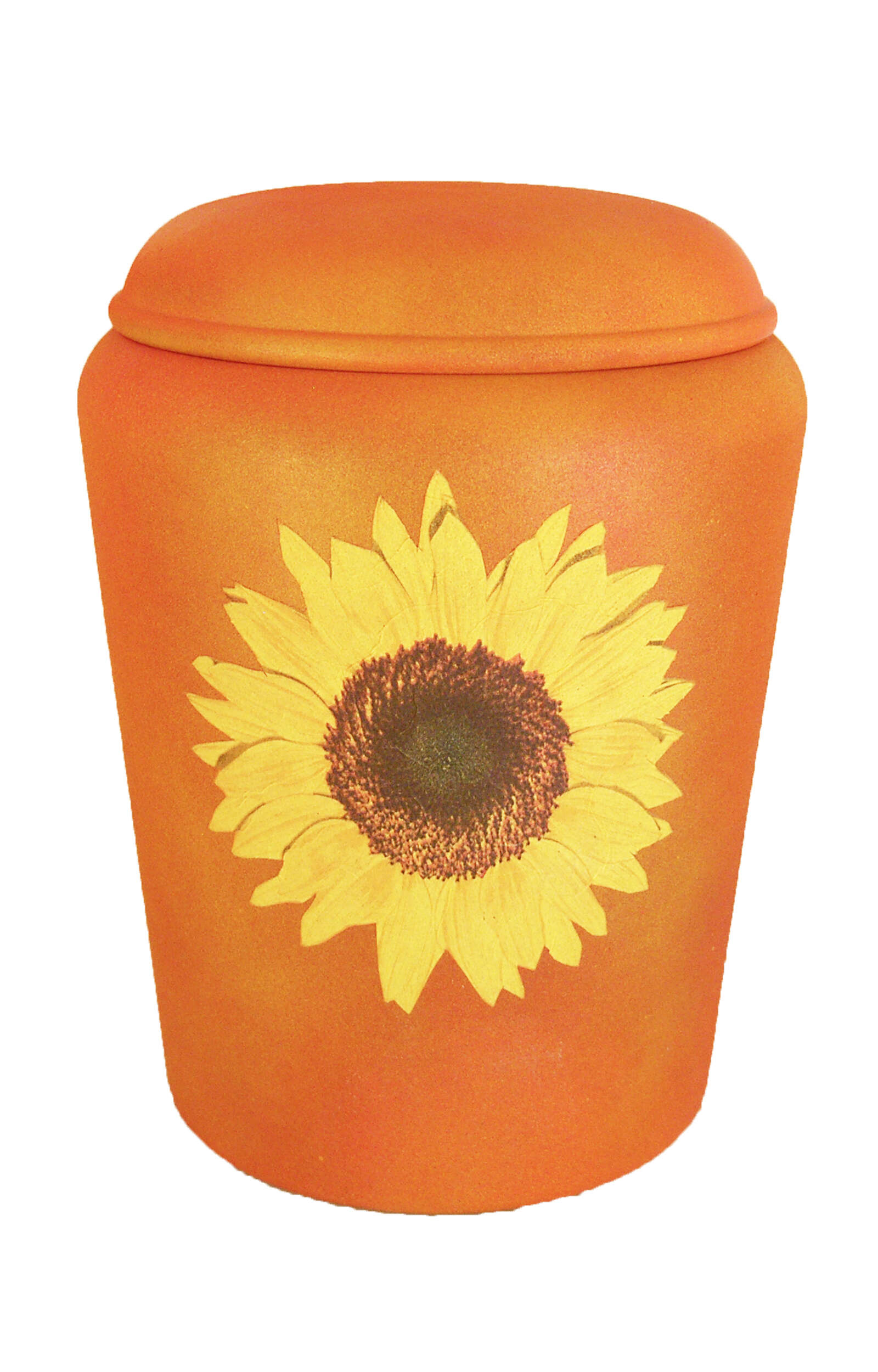 en BOS1728 biodigradable urn sunflower yellow orange Nona Mela funeral urn for human ashes