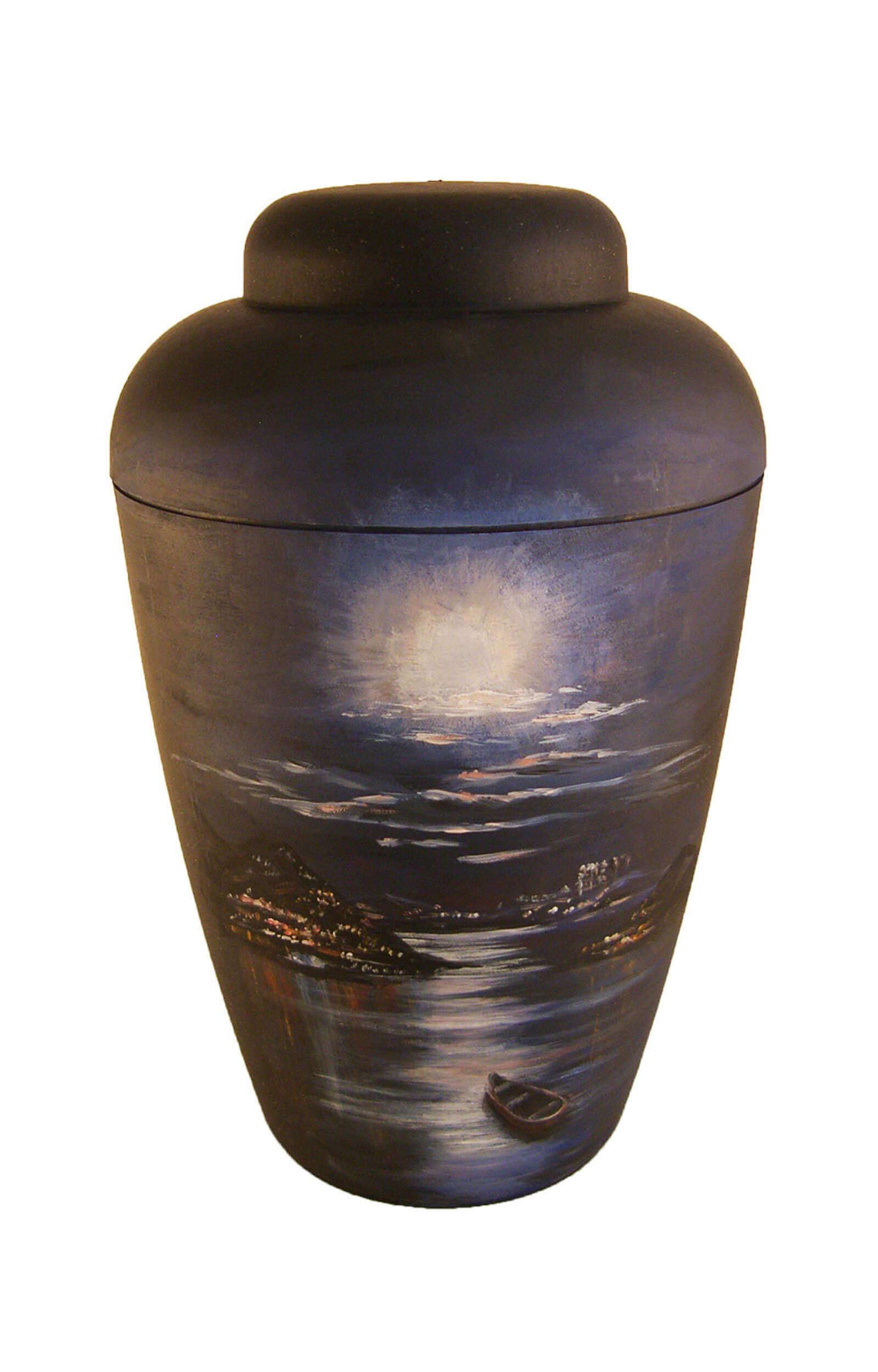 en BS1404 funeral urns on sale black hand painted artist urn city at night