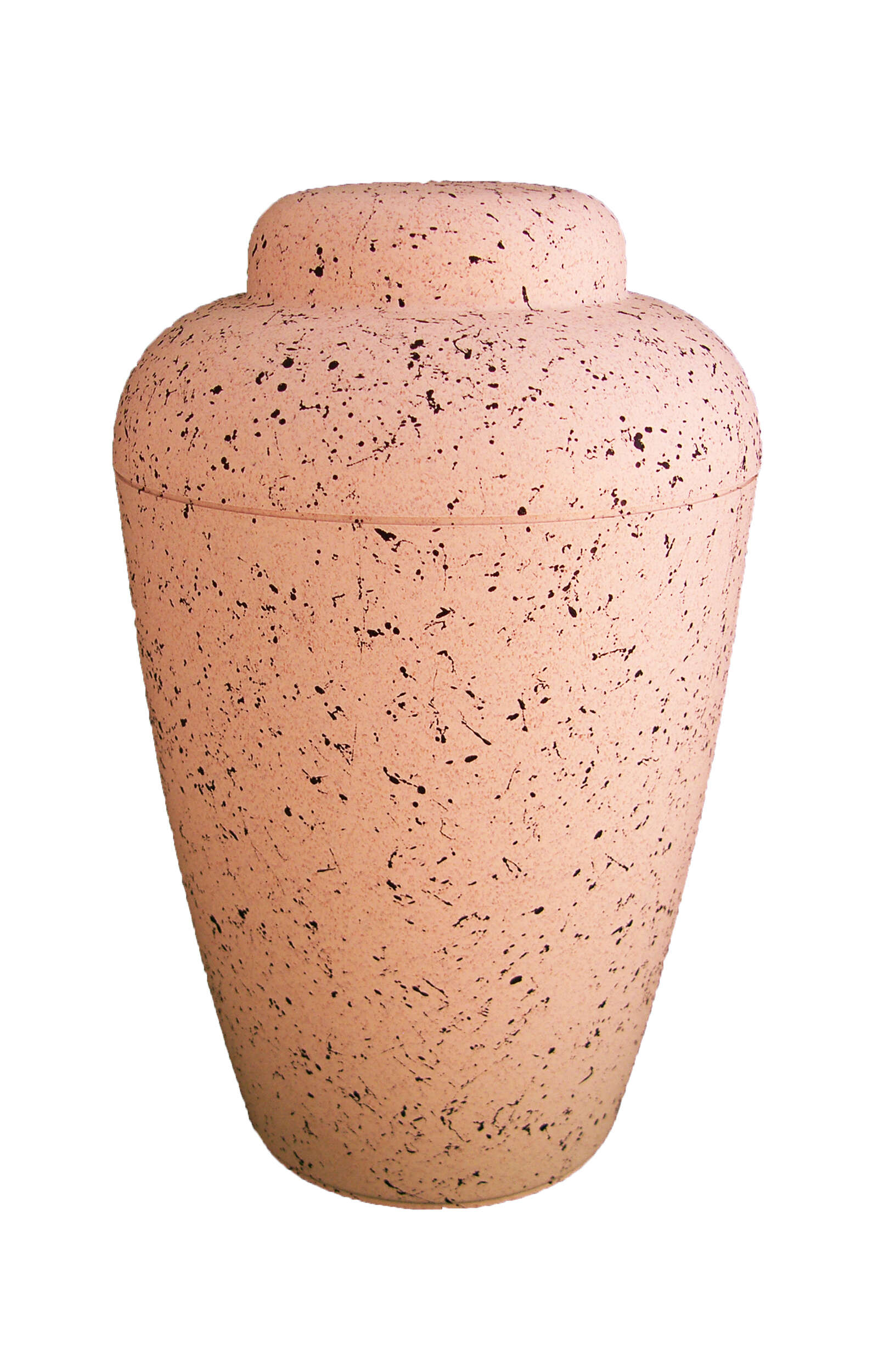 en BVW1407 white bio urn with black speckle