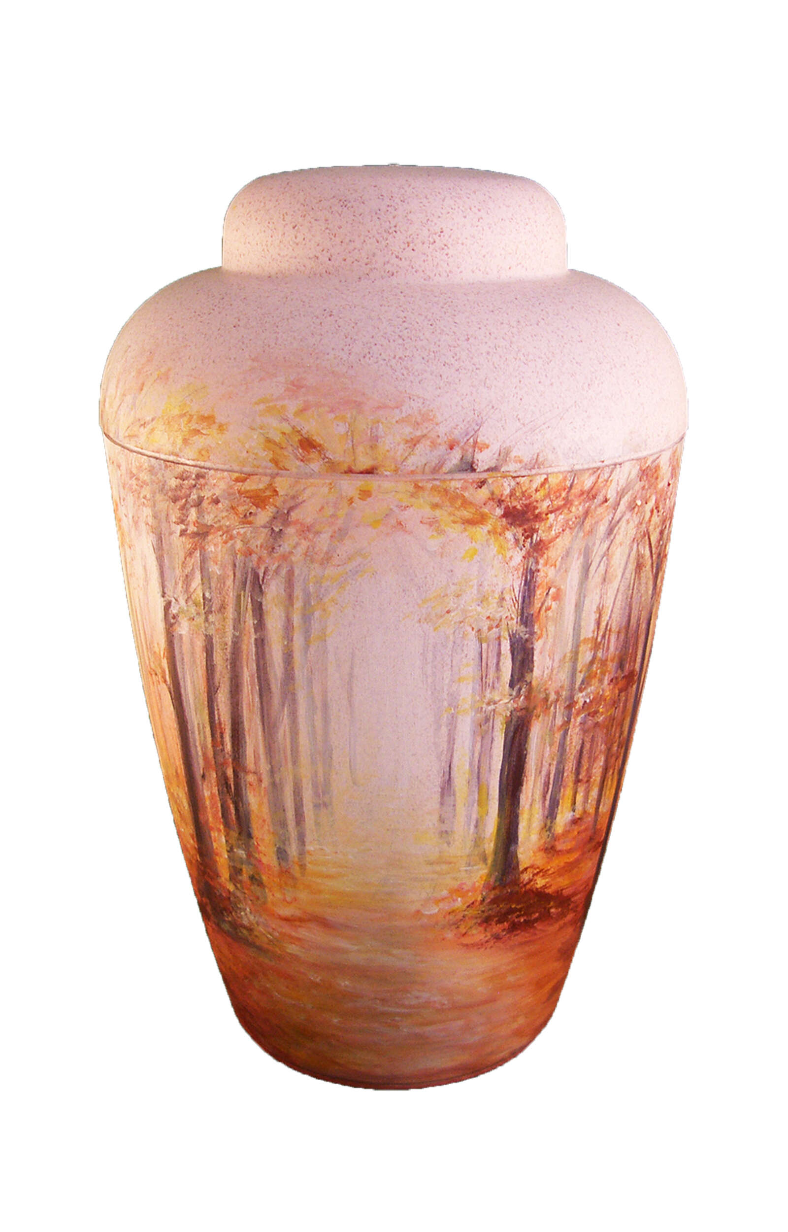 en BW1401 artist urn forest light funeral urns for human ashes cream white autumn