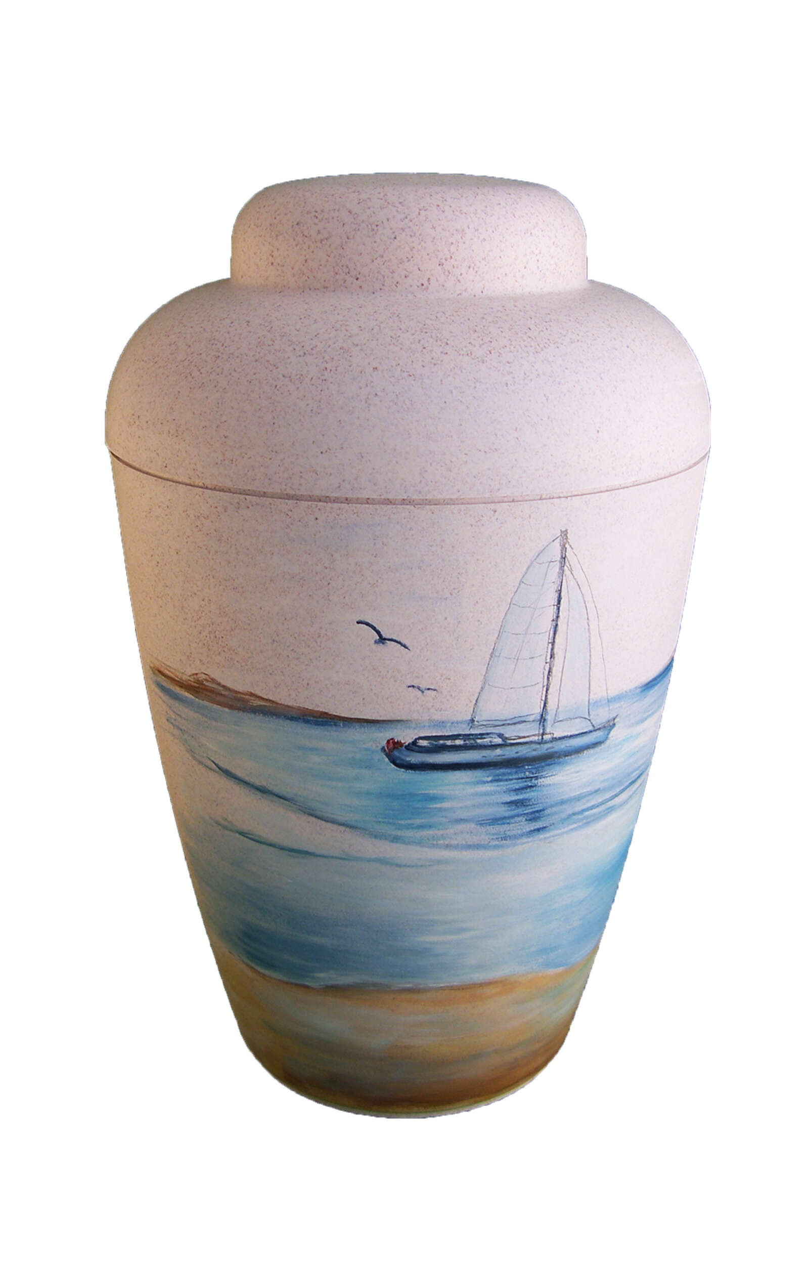 en BW1504 biodigradable urn sea sailing boat white funeral urns for human ashes