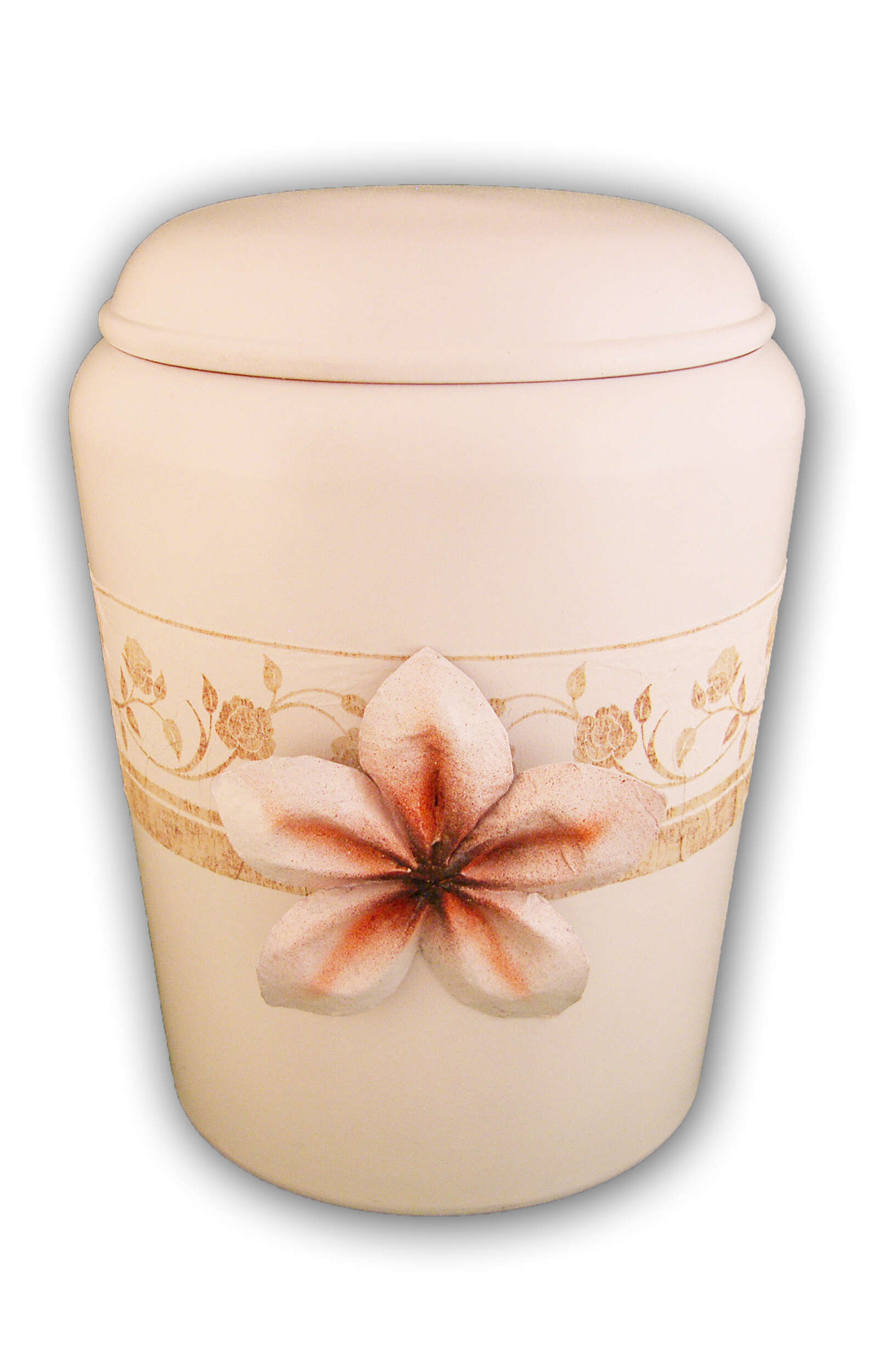en BWB1726 Nona Mela biodigradable urn flower of life cream white funeral urn for human ashes