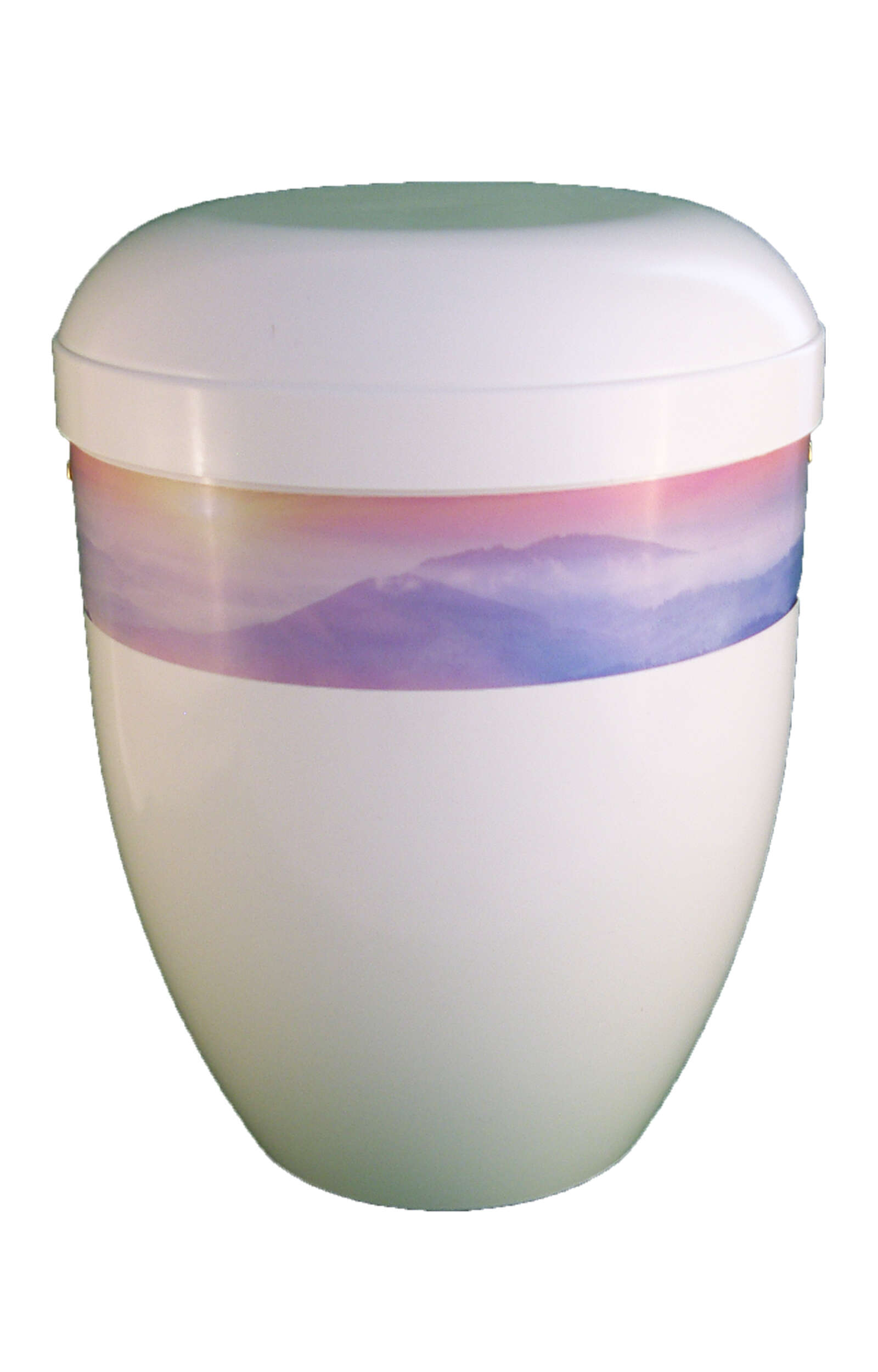 en BWG3701 panorama biodigradable urn white glossy mountain sunrise