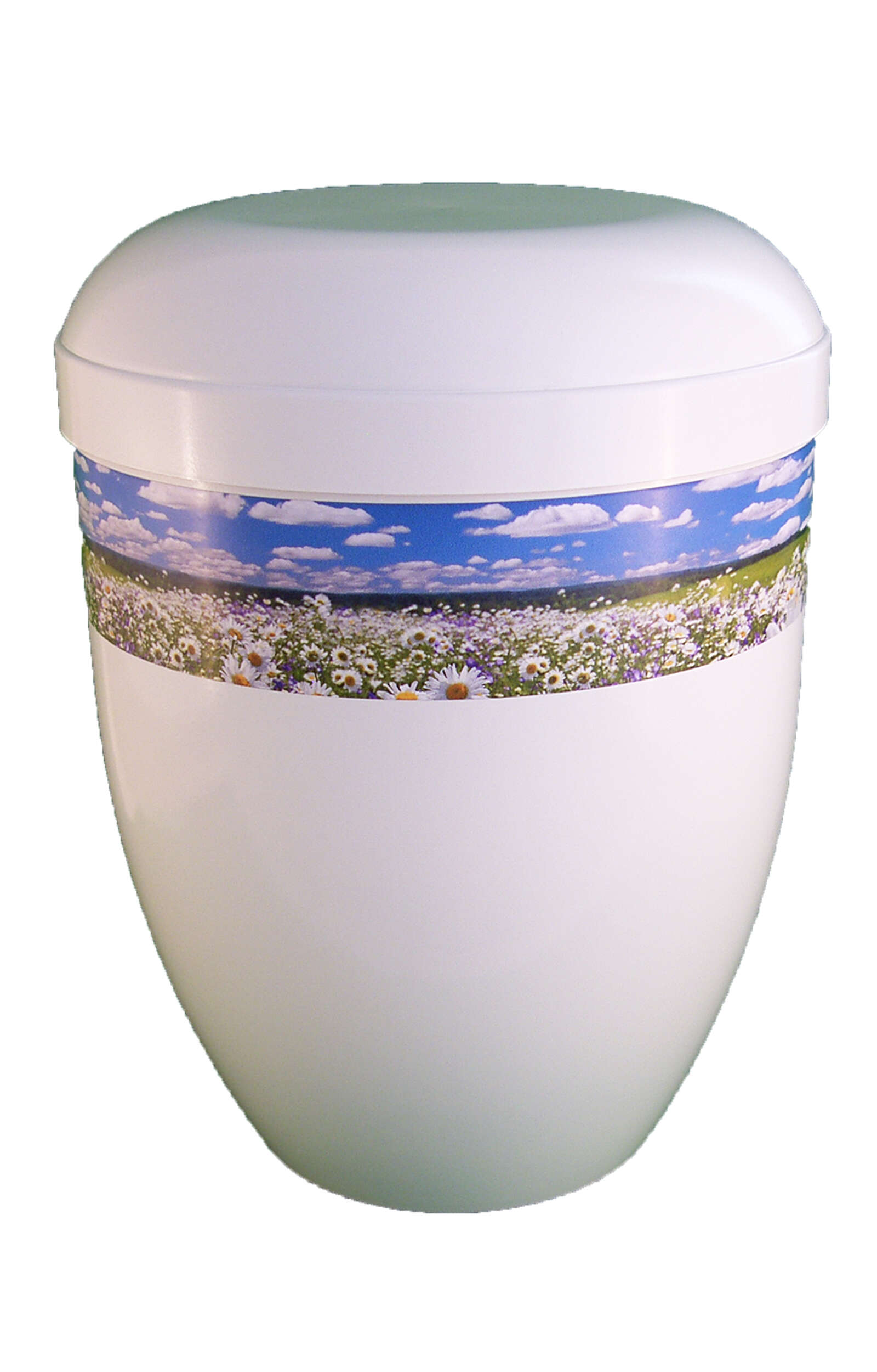 en BWG3703 biodigradable urn white glossy panorama flower meadow funeral urns on sale