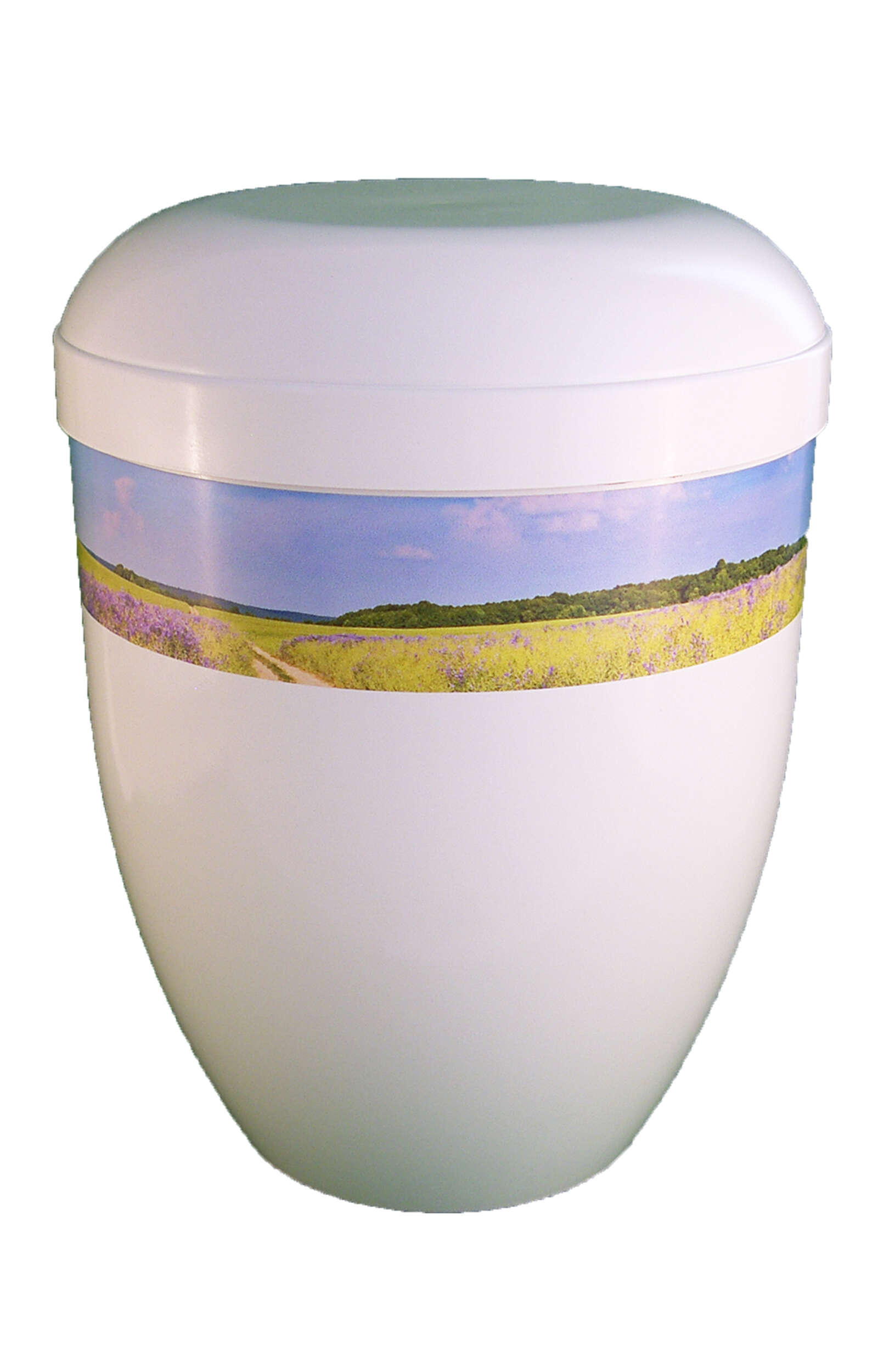 en BWG3704 panorama urn white glossy meadow in the sunshine funeral urns for human ashes