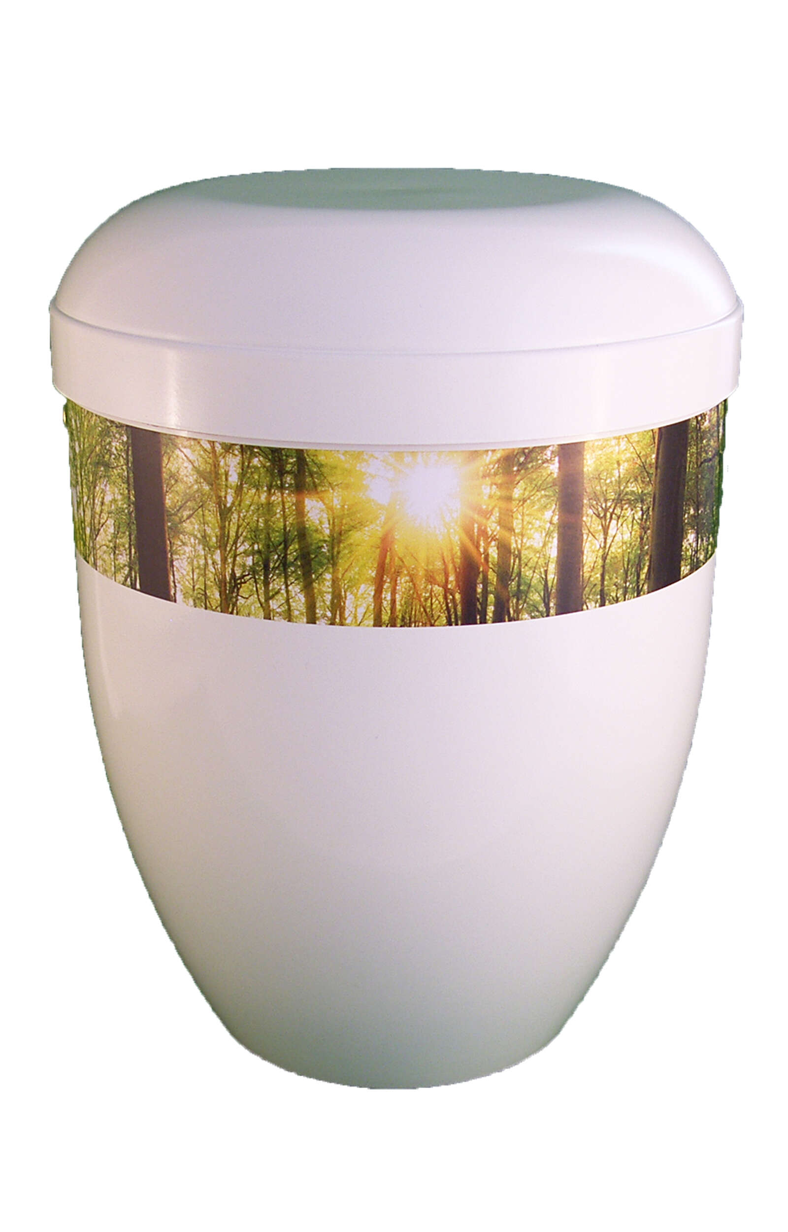 en BWG3705 biodigradable urn panorama forest white glossy funeral urn for human ashes