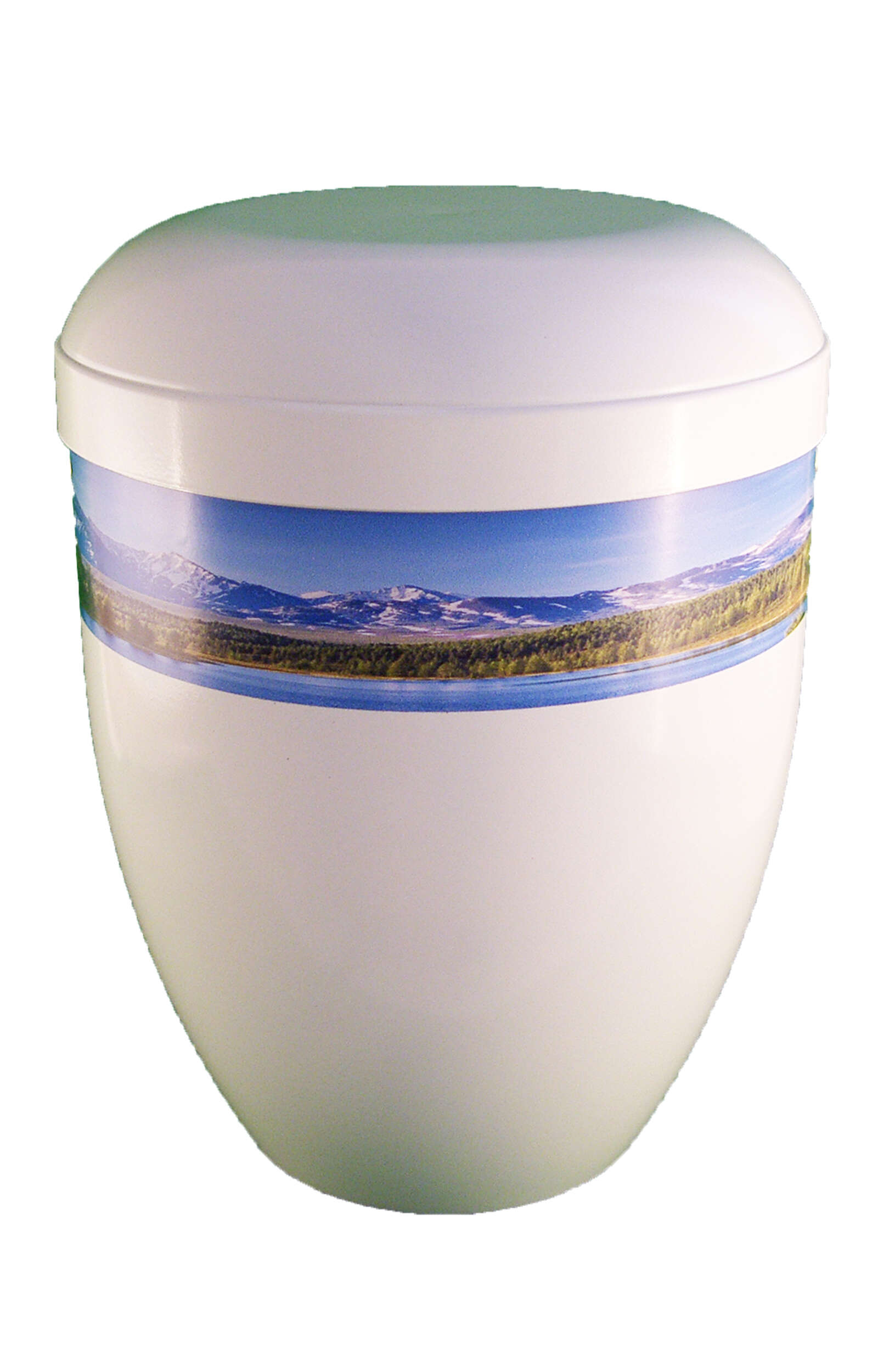 en BWG3708 white bio funeral urne mountain and lakes