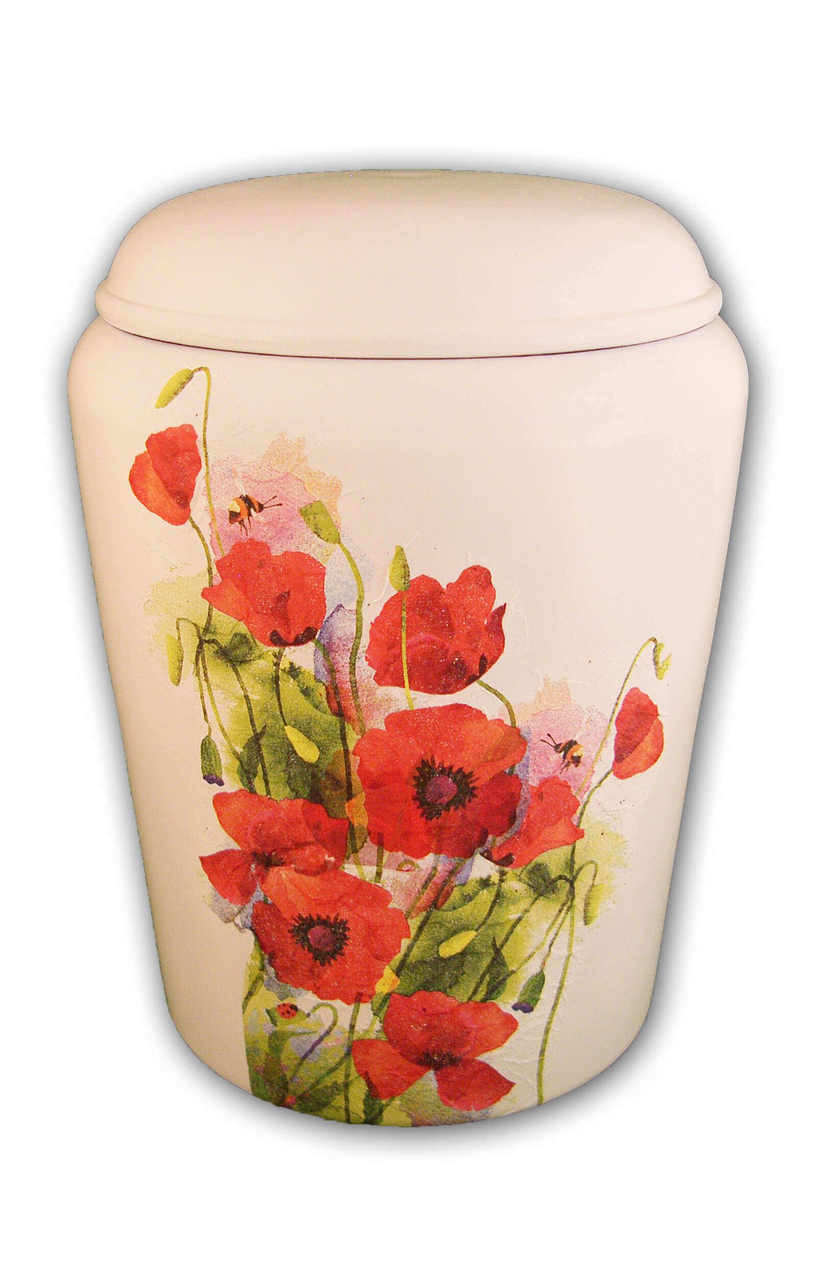 en BWM1723 poppy biodigradable urn Nona Mela white red funeral urns on sale
