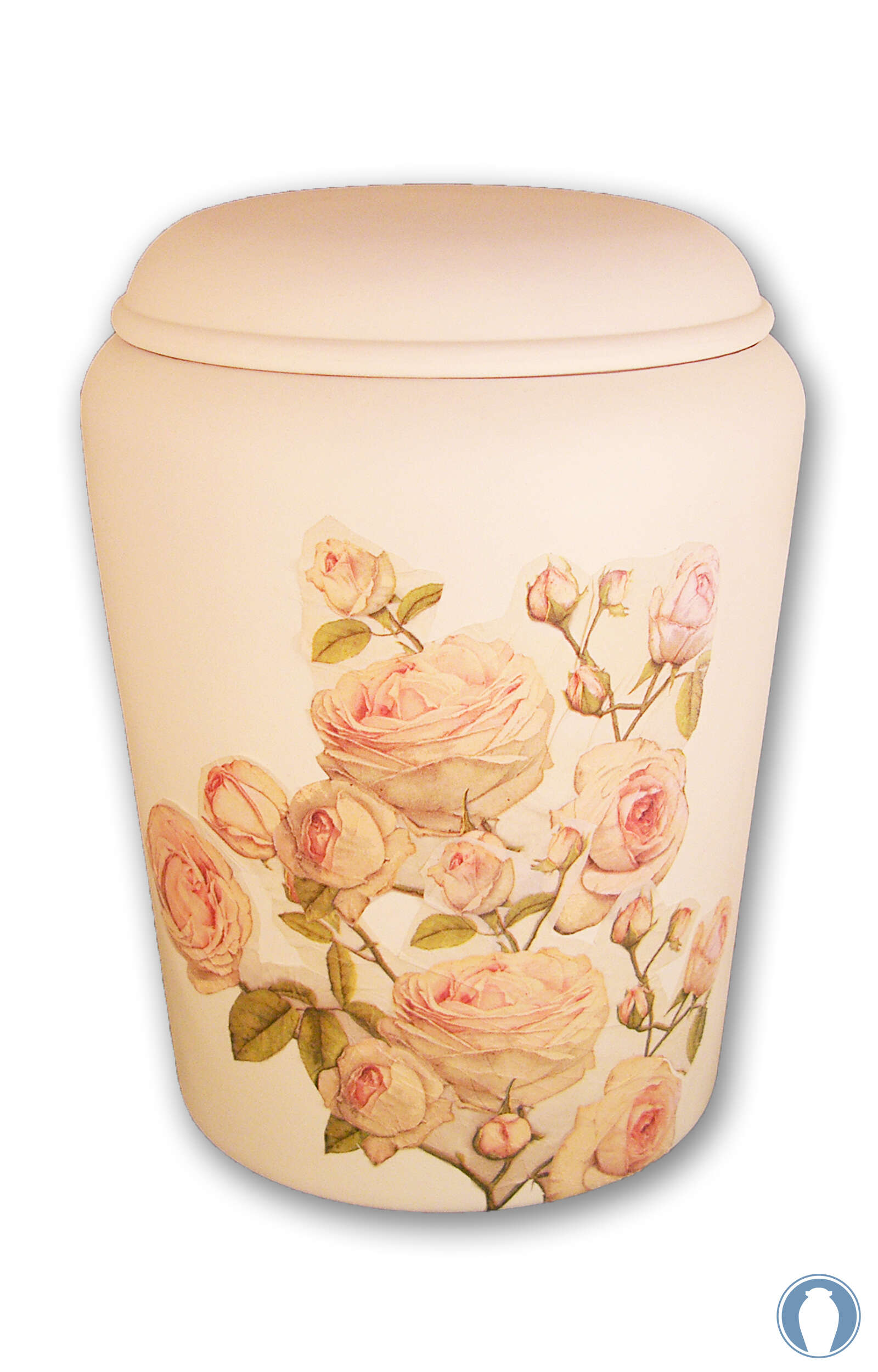 en BWR1729 Nona Mela biodigradable urn white rose funeral urn for human ashes