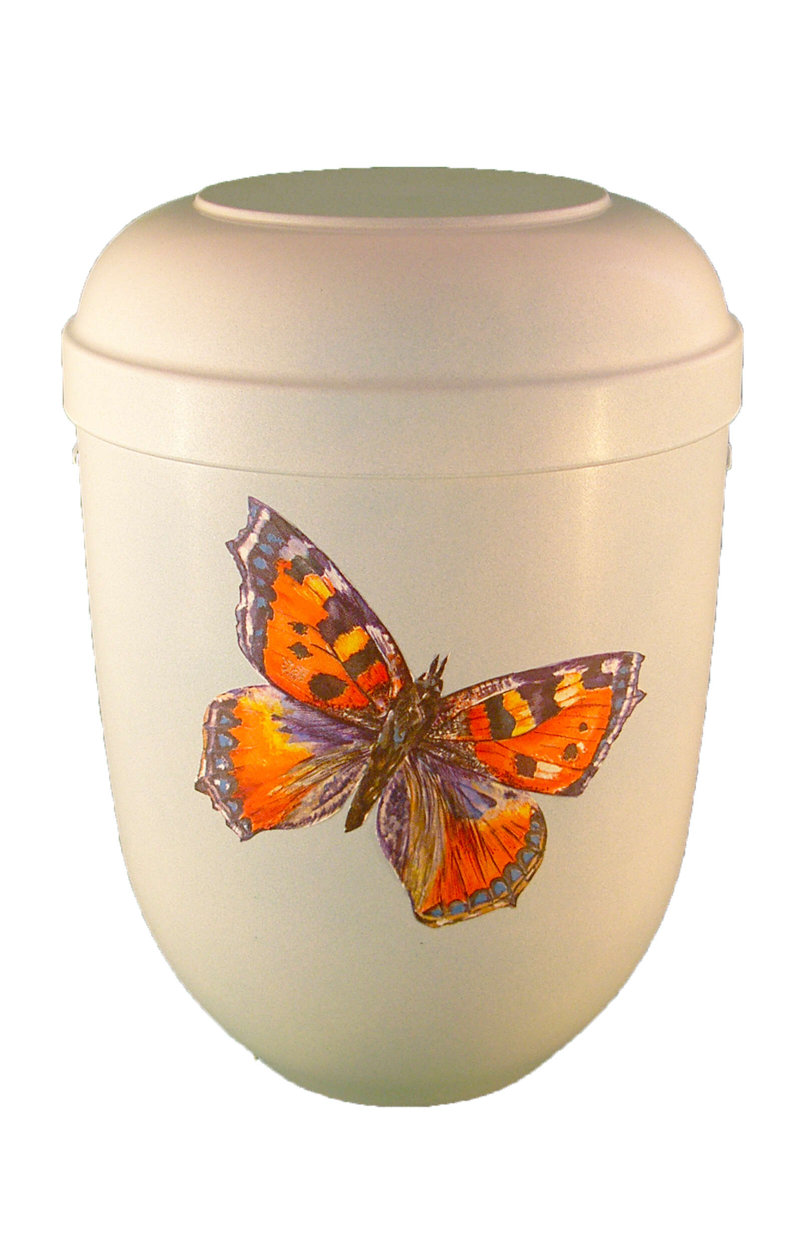 en BWS1731 biodigradable urn white butterfly light blue glossy funeral urn for human ashes