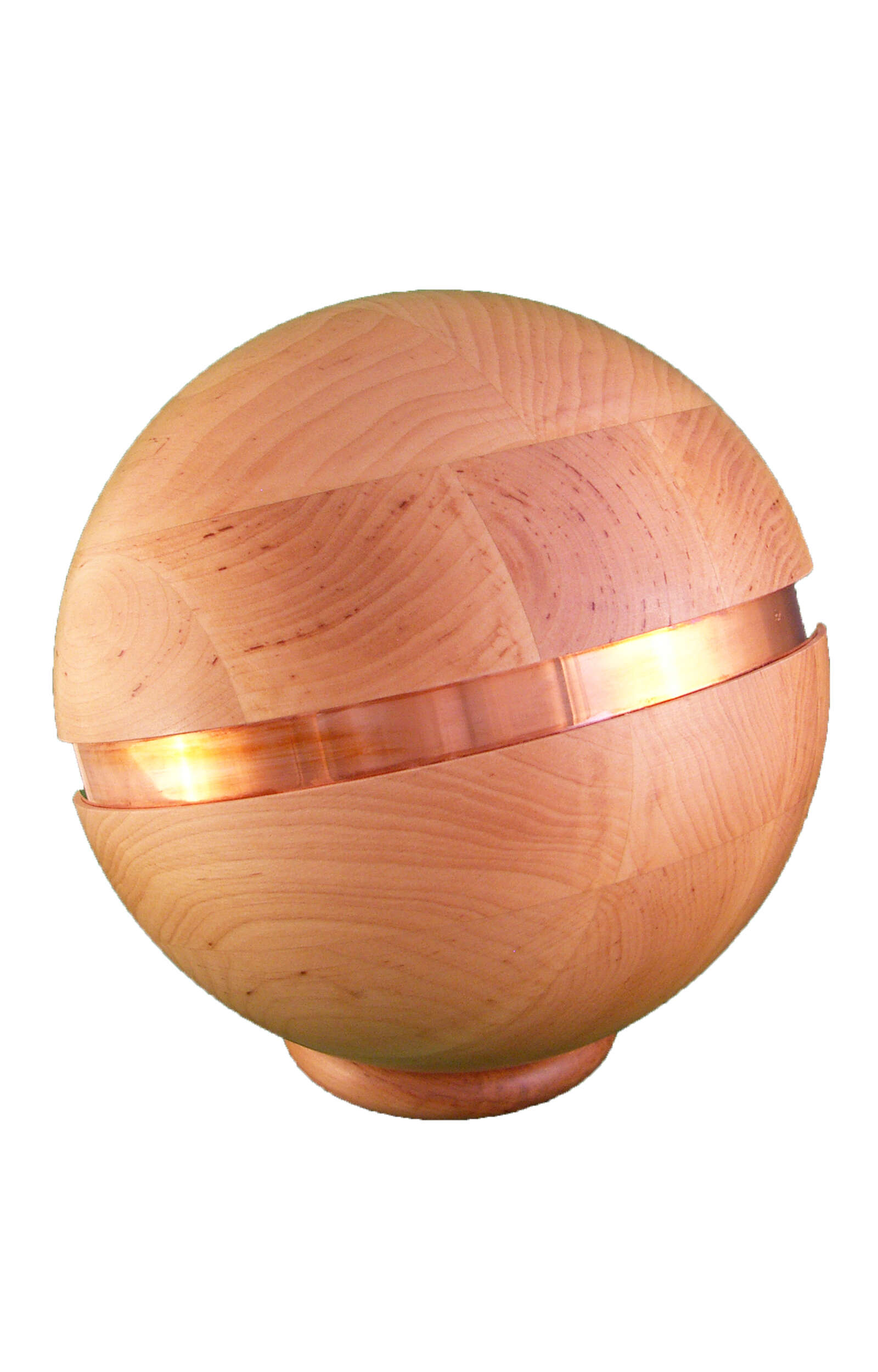 en HB3102 ball shape funeral urn wooden urns with metal decoration