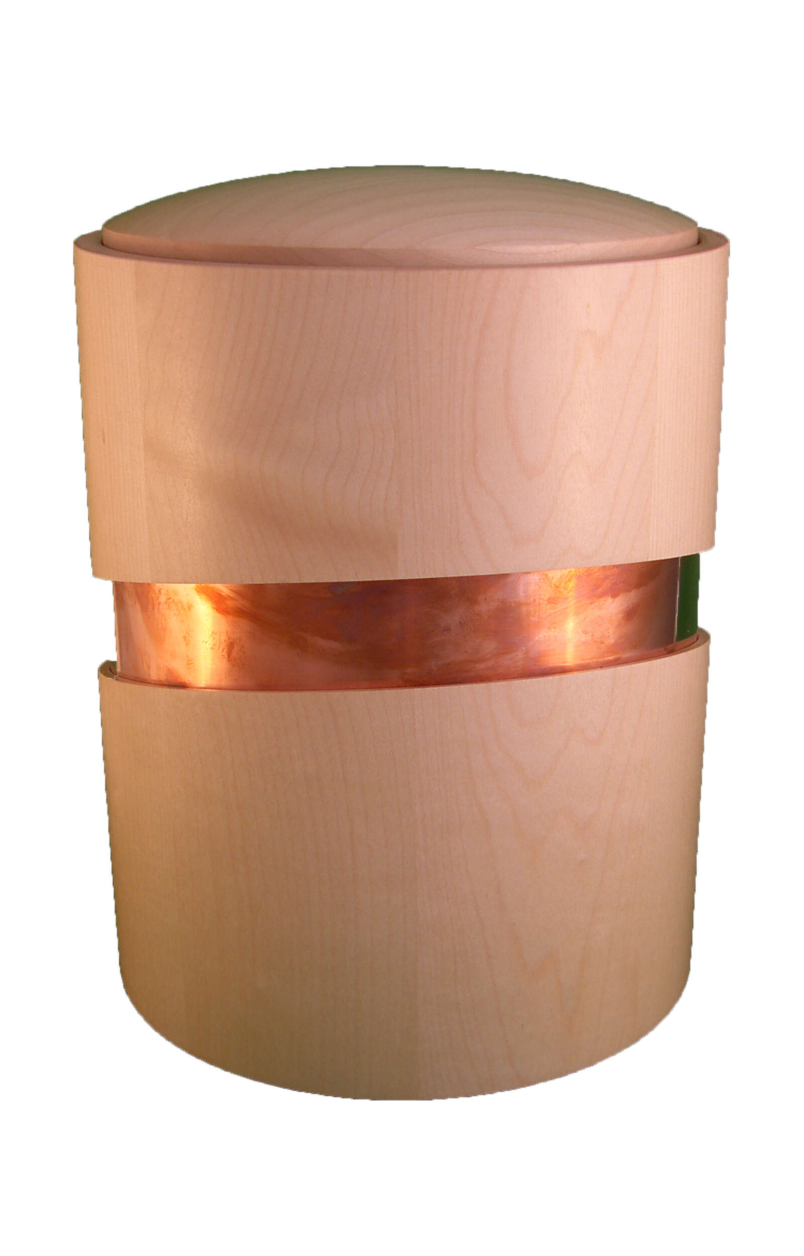 en HB3103 wooden funeral urn with metal decoration