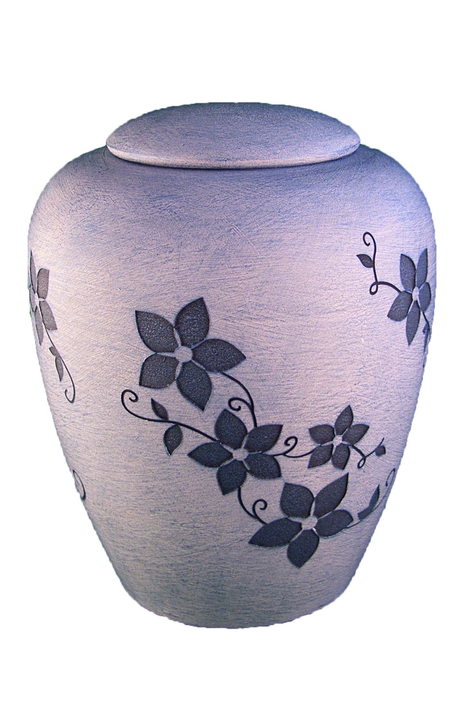 en K03 ceramic urn flower design light blue white