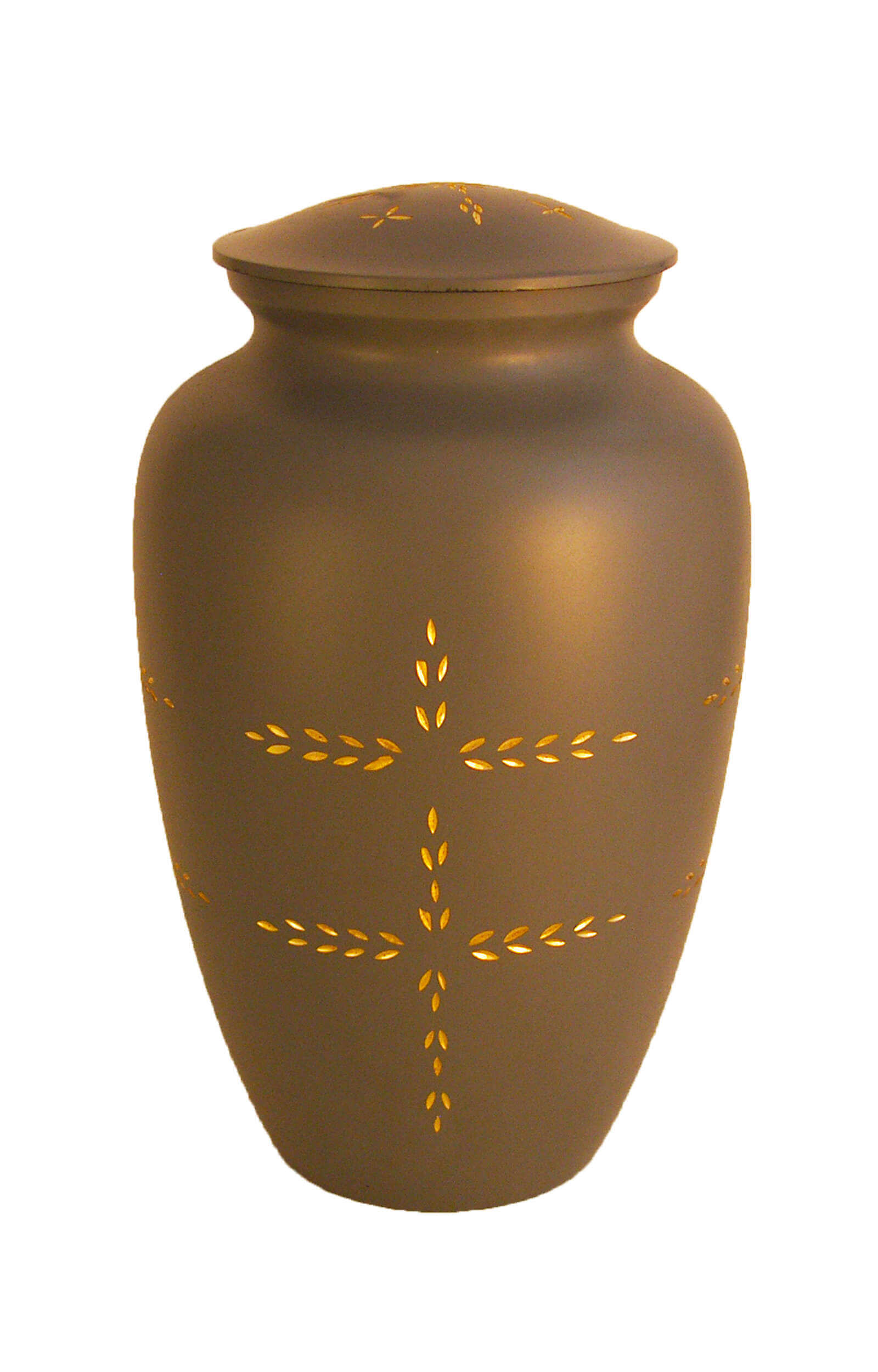 en MGK1003 brass urn cross grey gold funeral urns for human ashes on sale