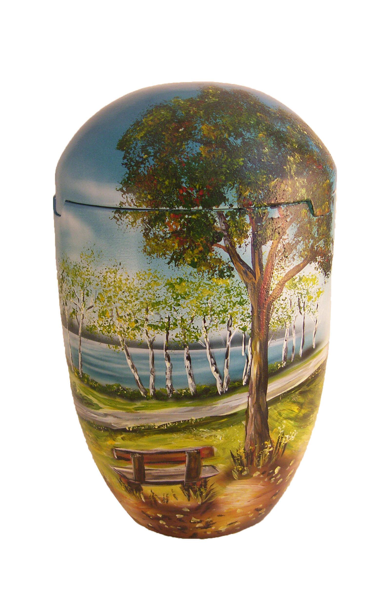 en SBB7024 sea urn tree bench lake sky blue light green urns on sale