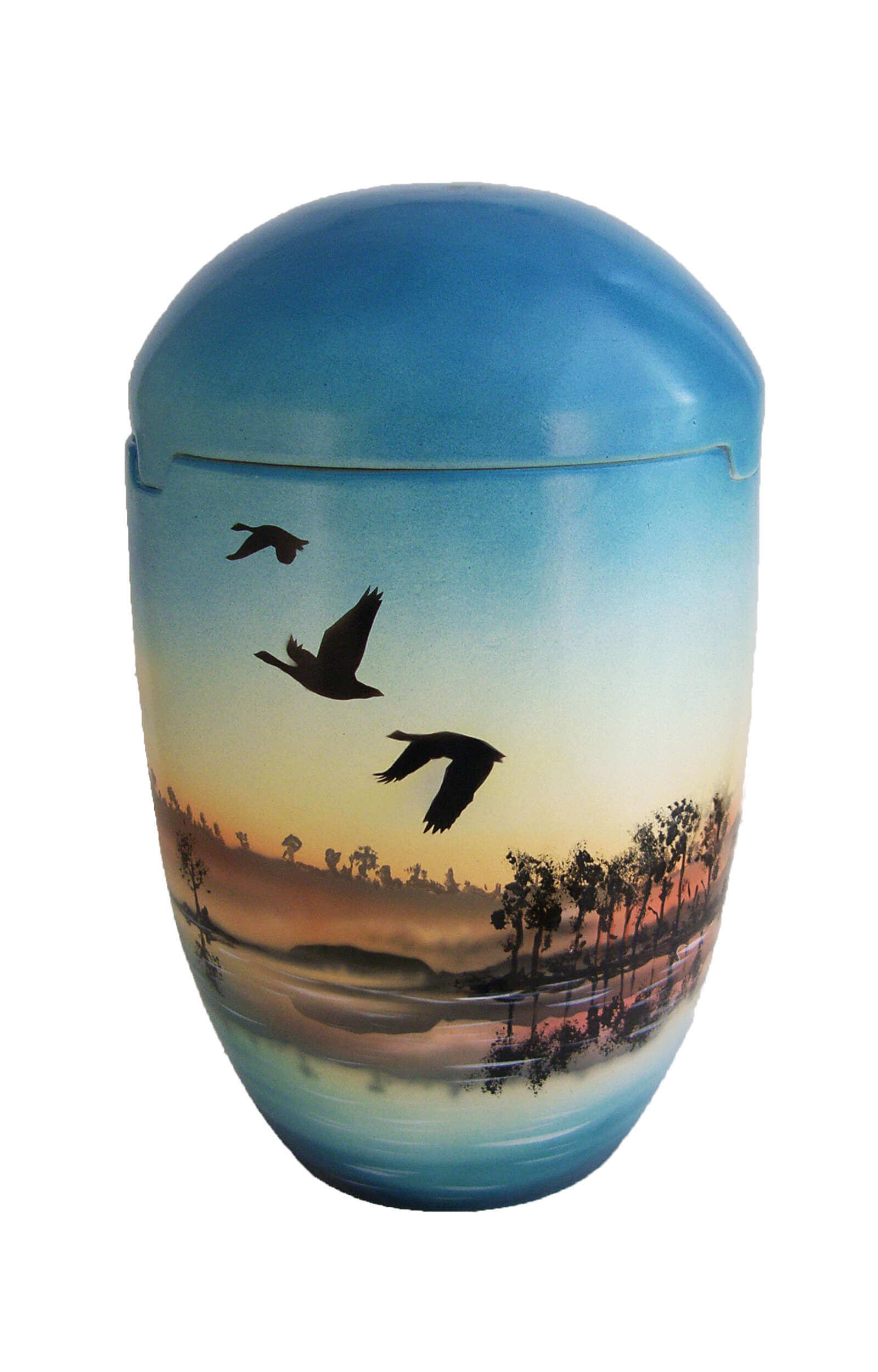 en SBG7030 sea urn blue sky sunrise birds biodigradable funeral urns on sale