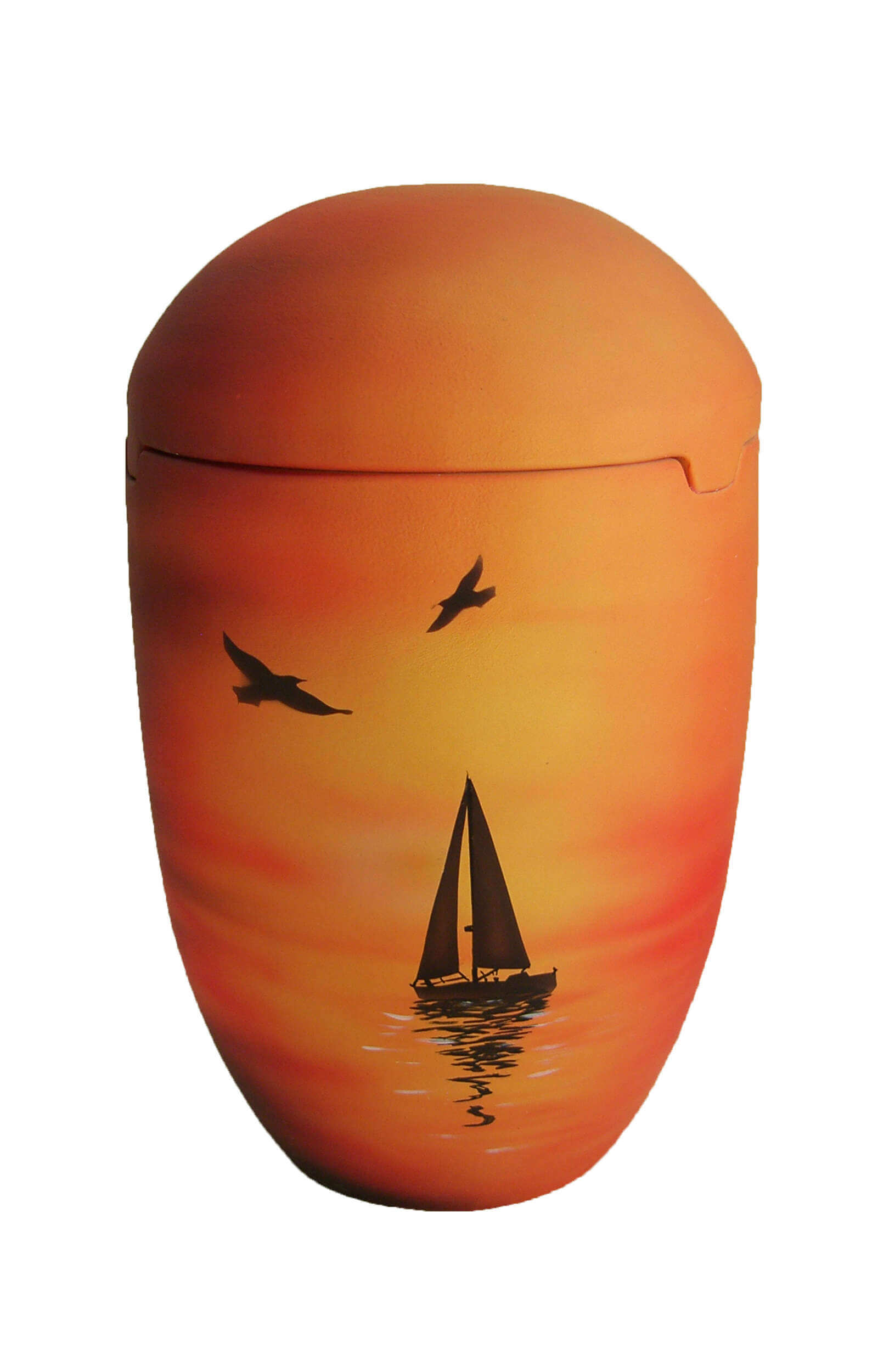 en SOB7027 sea urn sunset sailing boat yellow red orange funeral urns for human ashes on sale