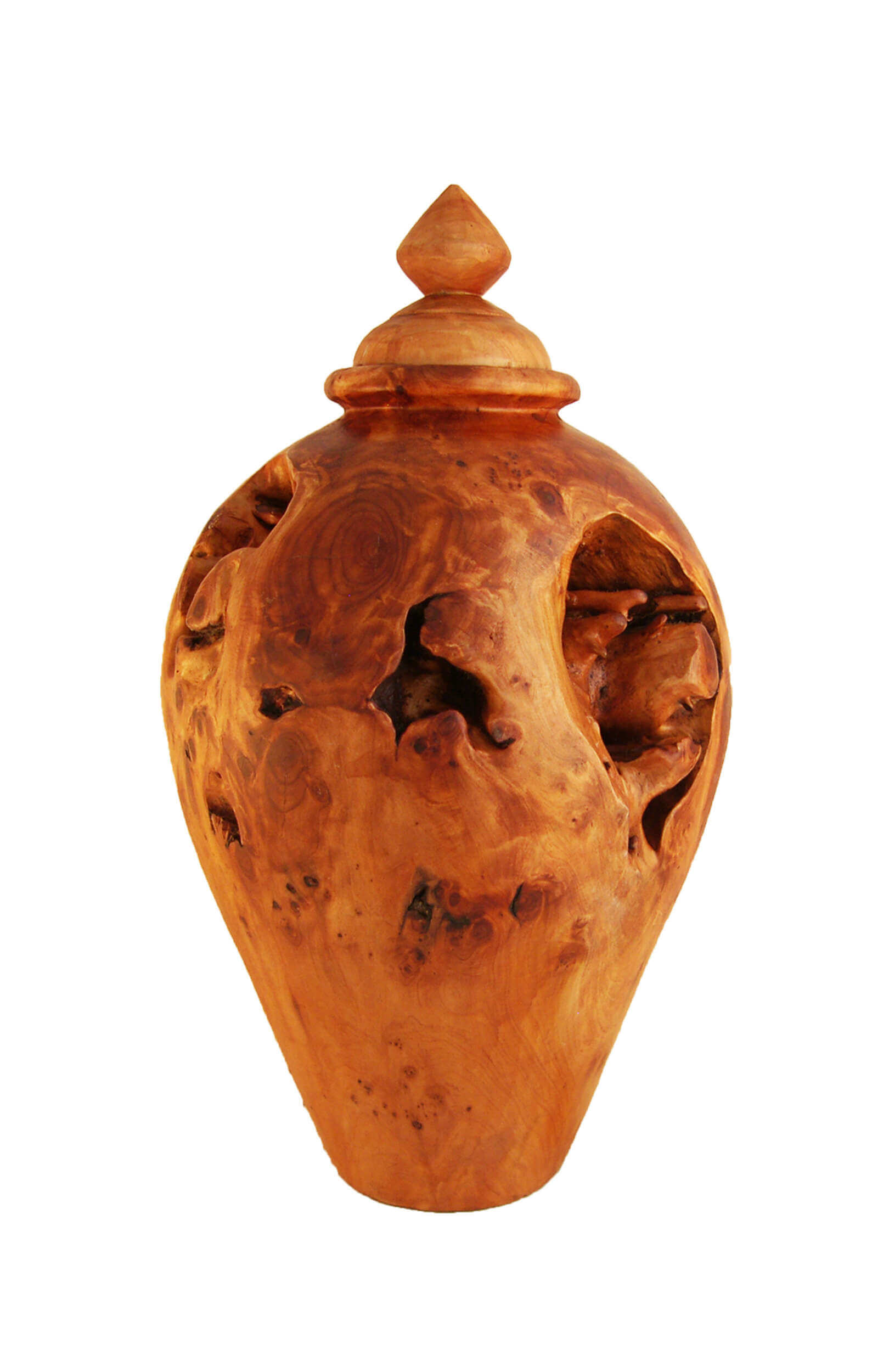 real root wood urn arved wooden jar casket pot container tree timber lumber carve