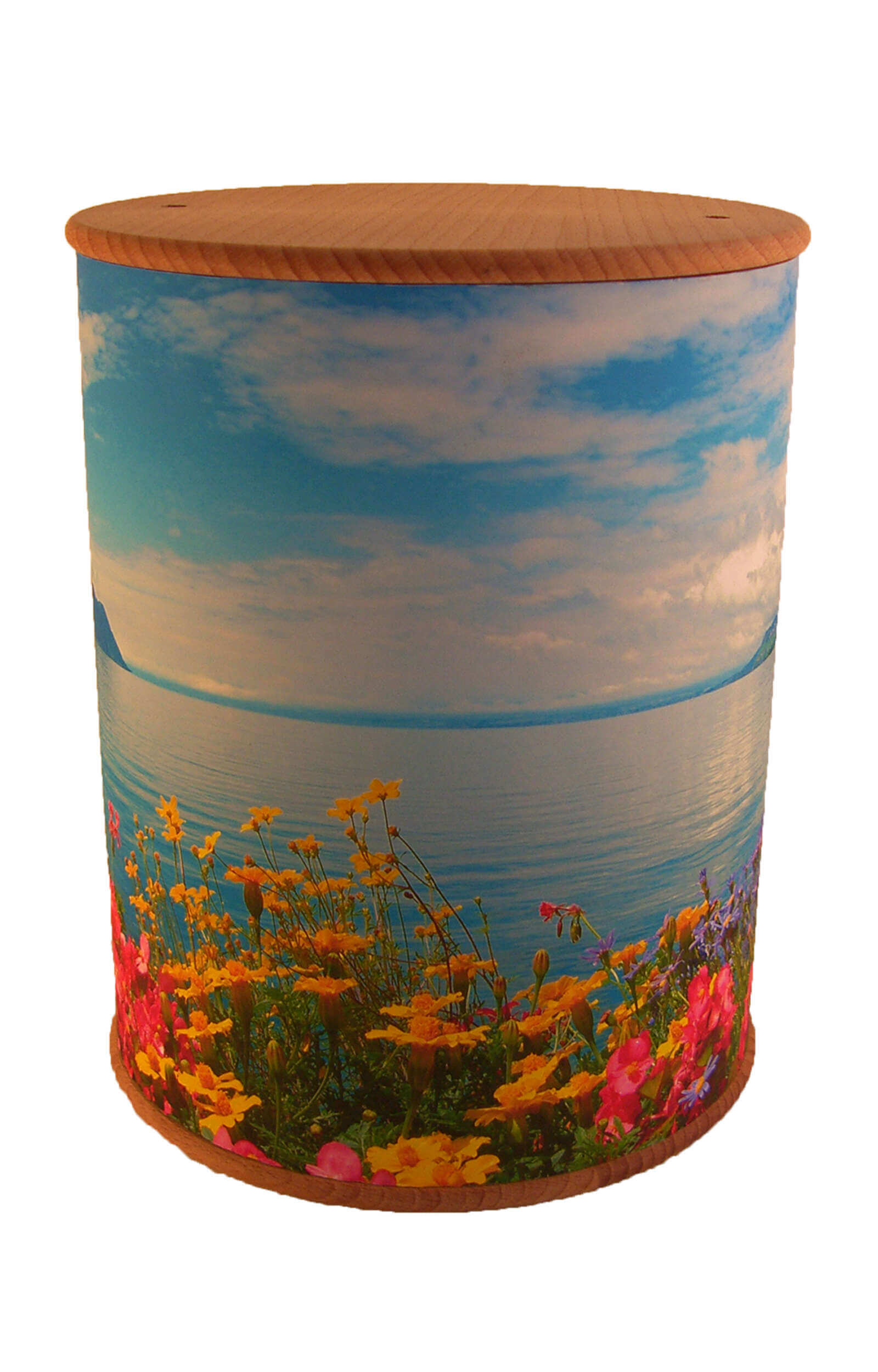 en ZB003 photo urn flowers lake blue white funeral urns on sale