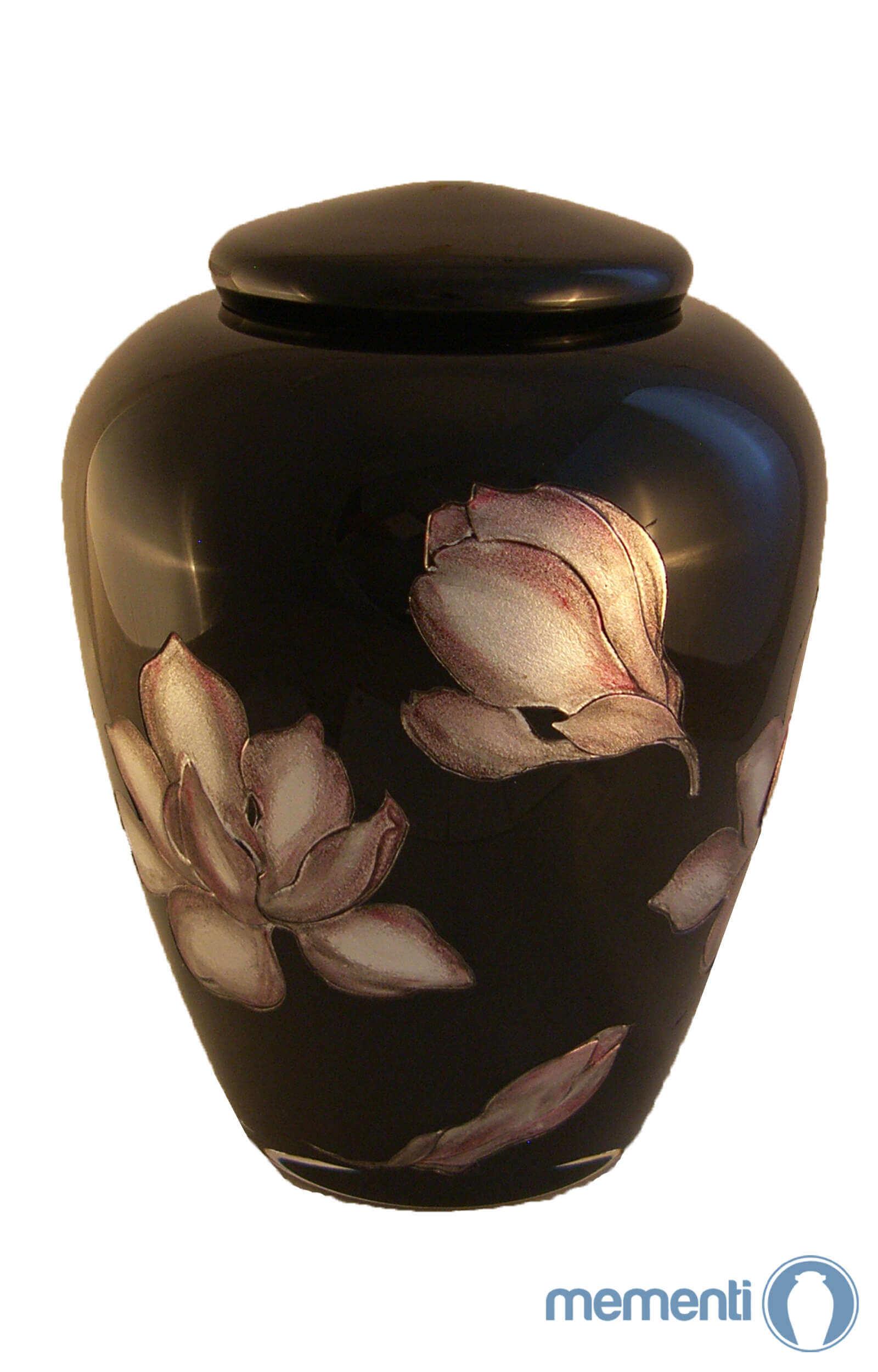 en G01 jet black floral glass urn