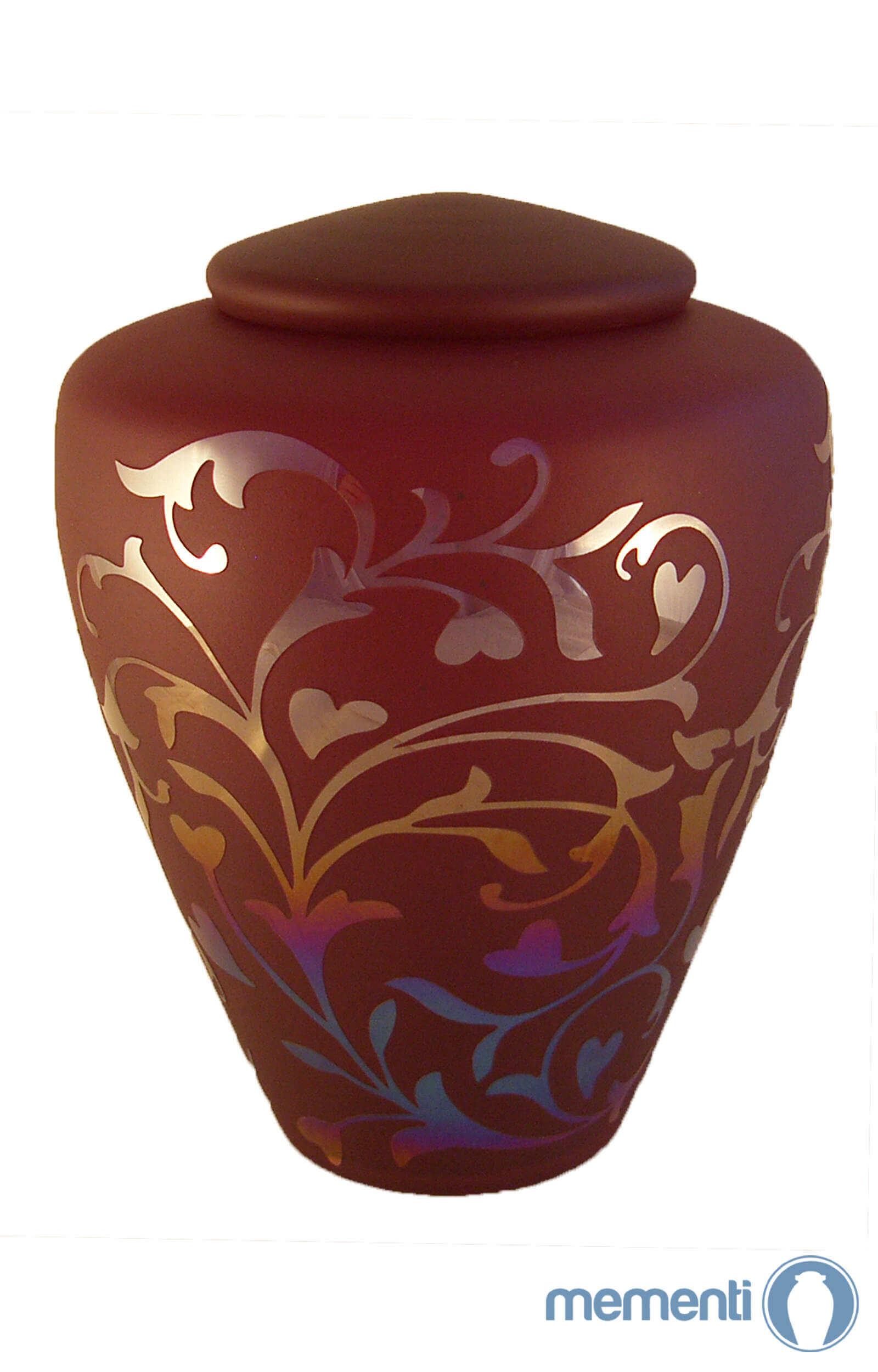 en G02 flourish detailed current red glass urn