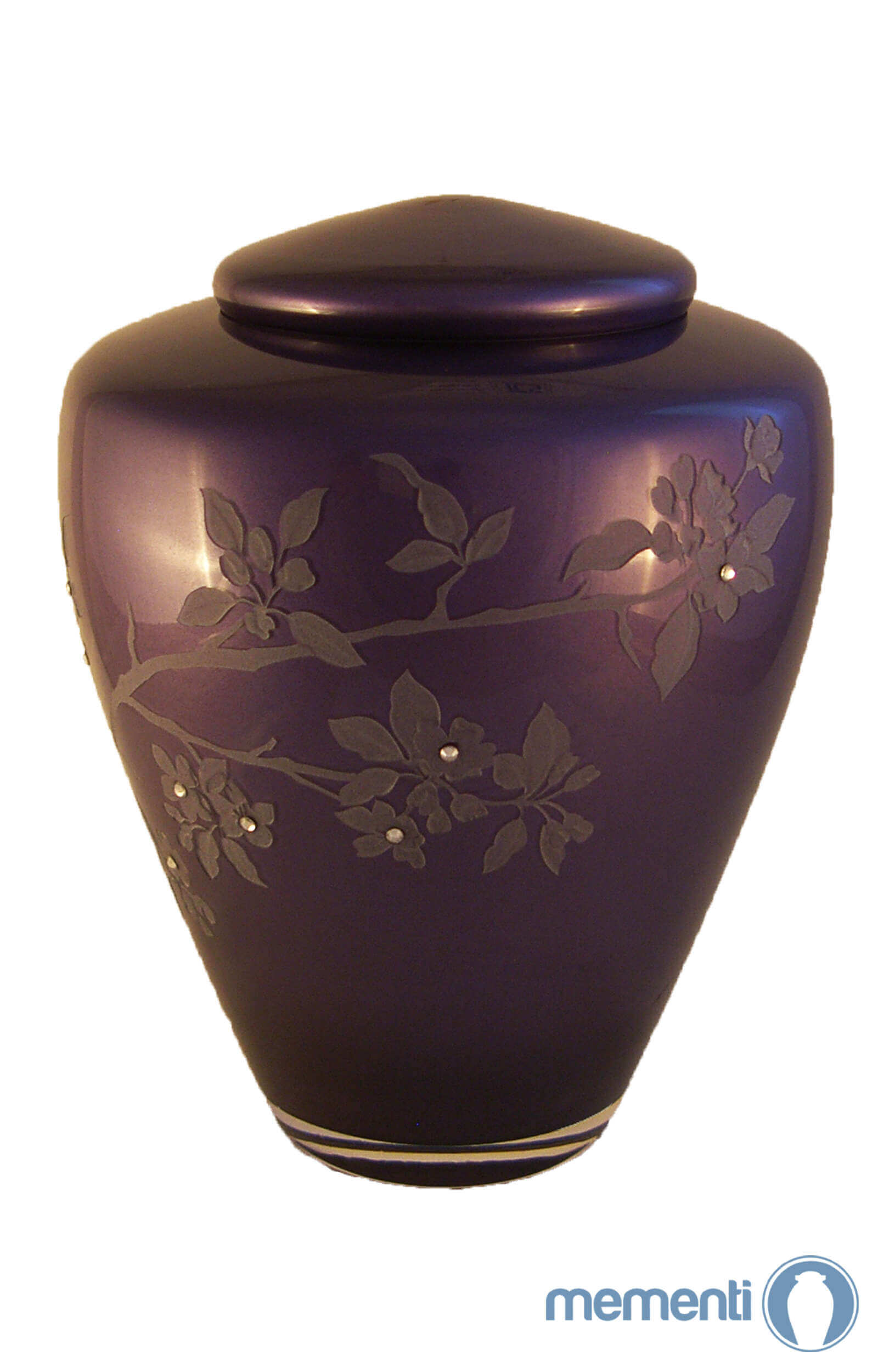 en G04 blossom deep purple glass urn