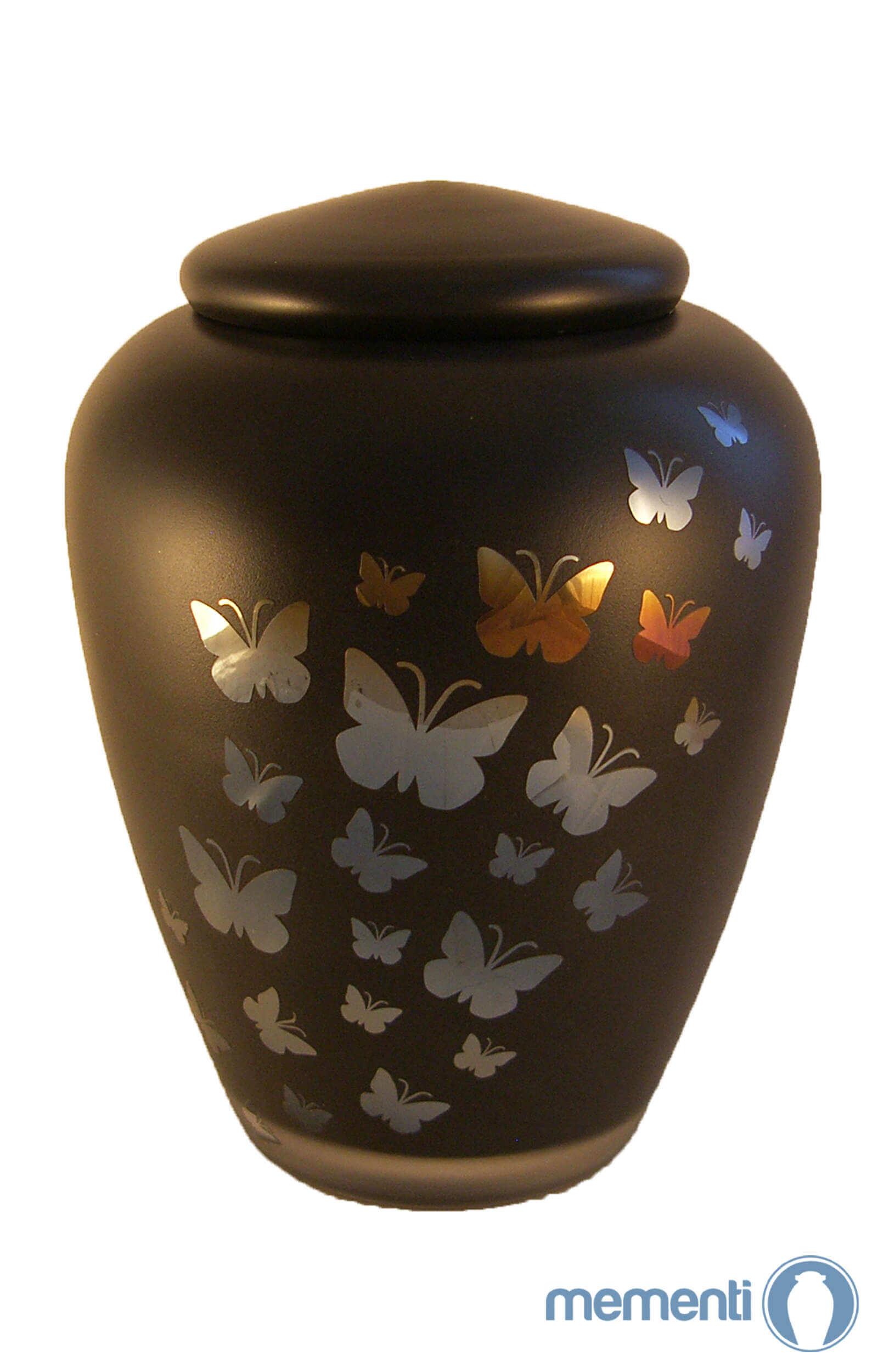 en G05 brown butterflies glass urn