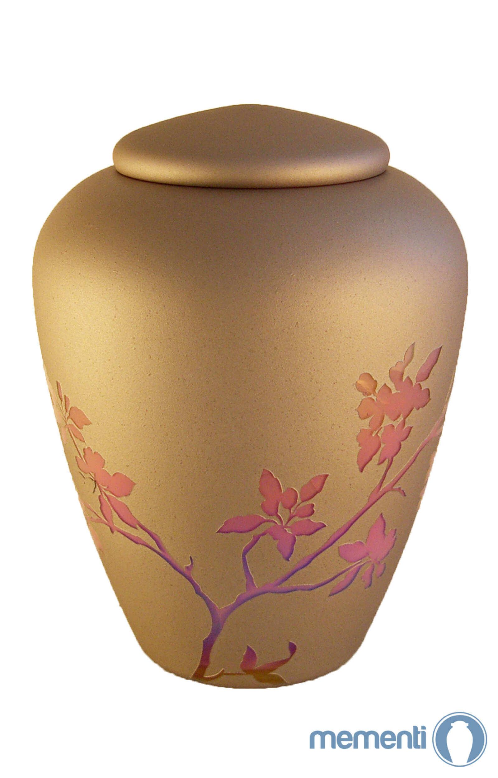en G08 pink blossom glass urn