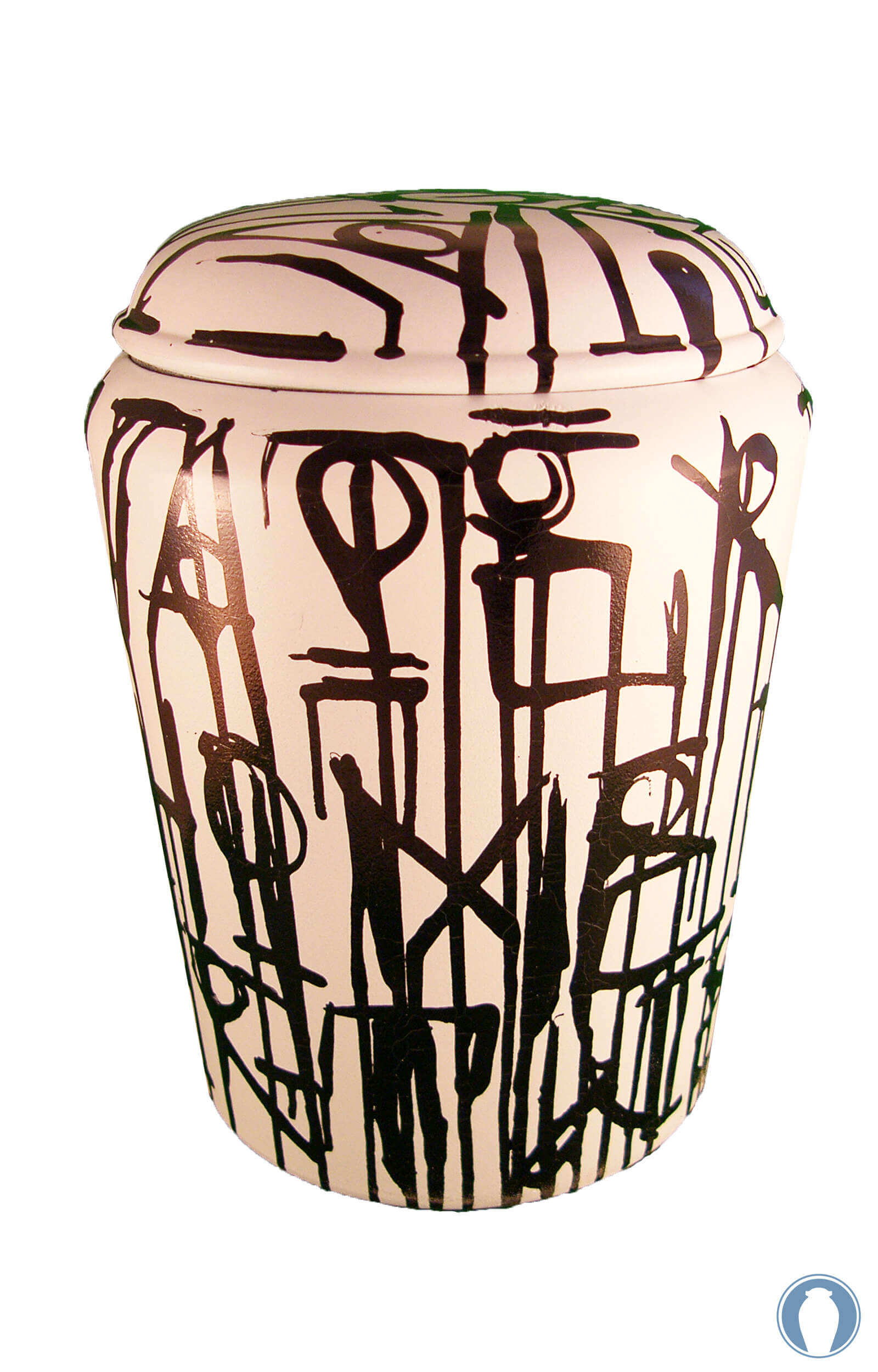 en KB01 biodegradable black and white abstract urn