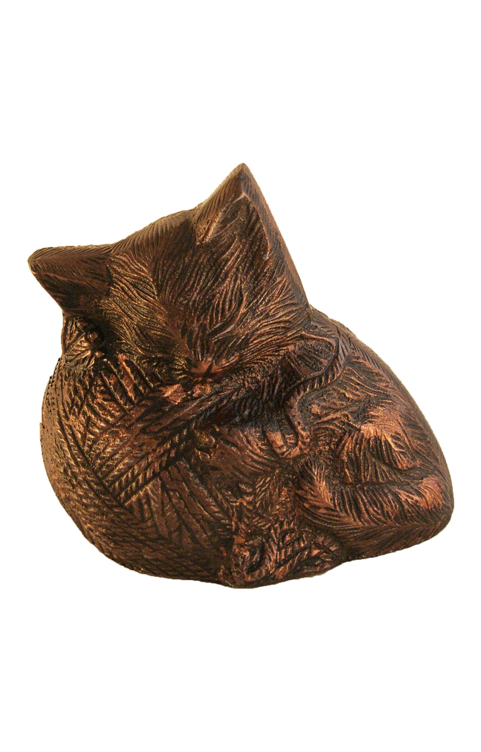 en TIB500A dark brown aluminium sleeping cat on wool yarn urn jgp