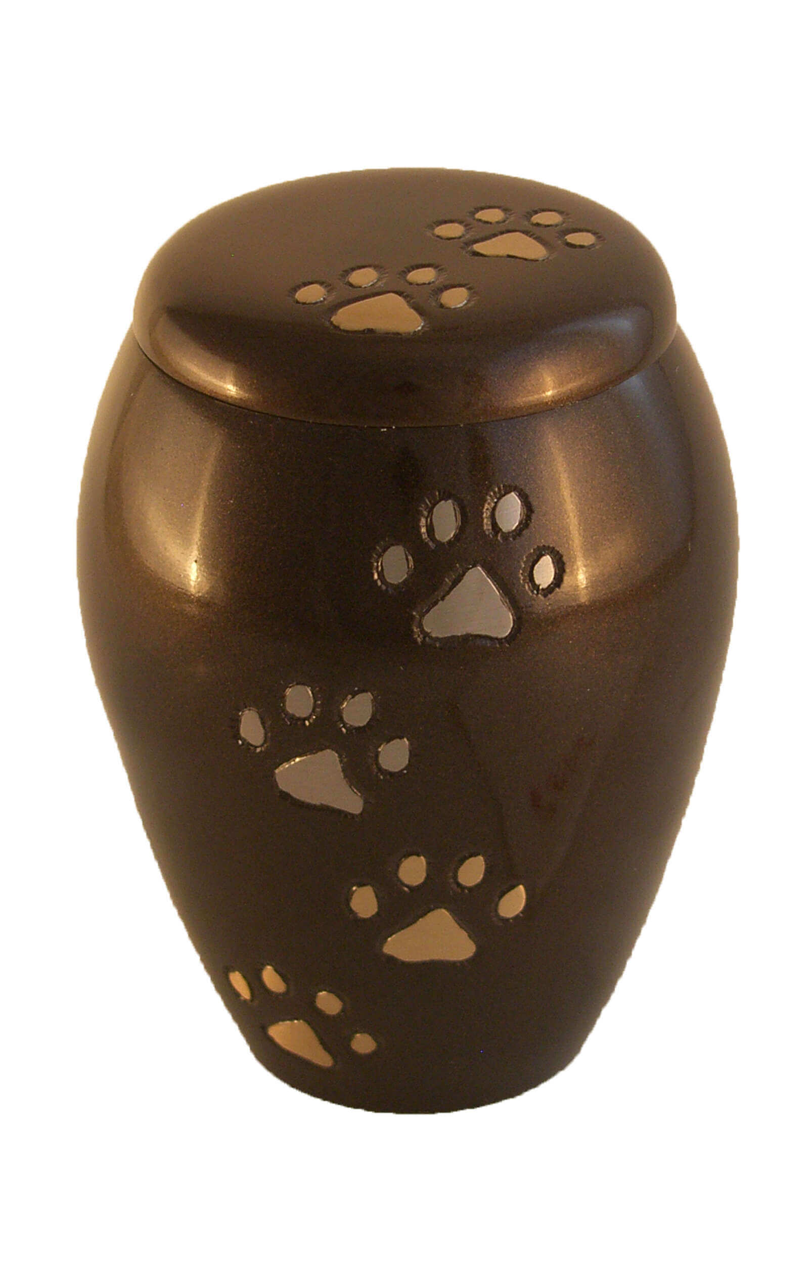 en TIB6045M dark brown pet urn with gold pawprints jpg
