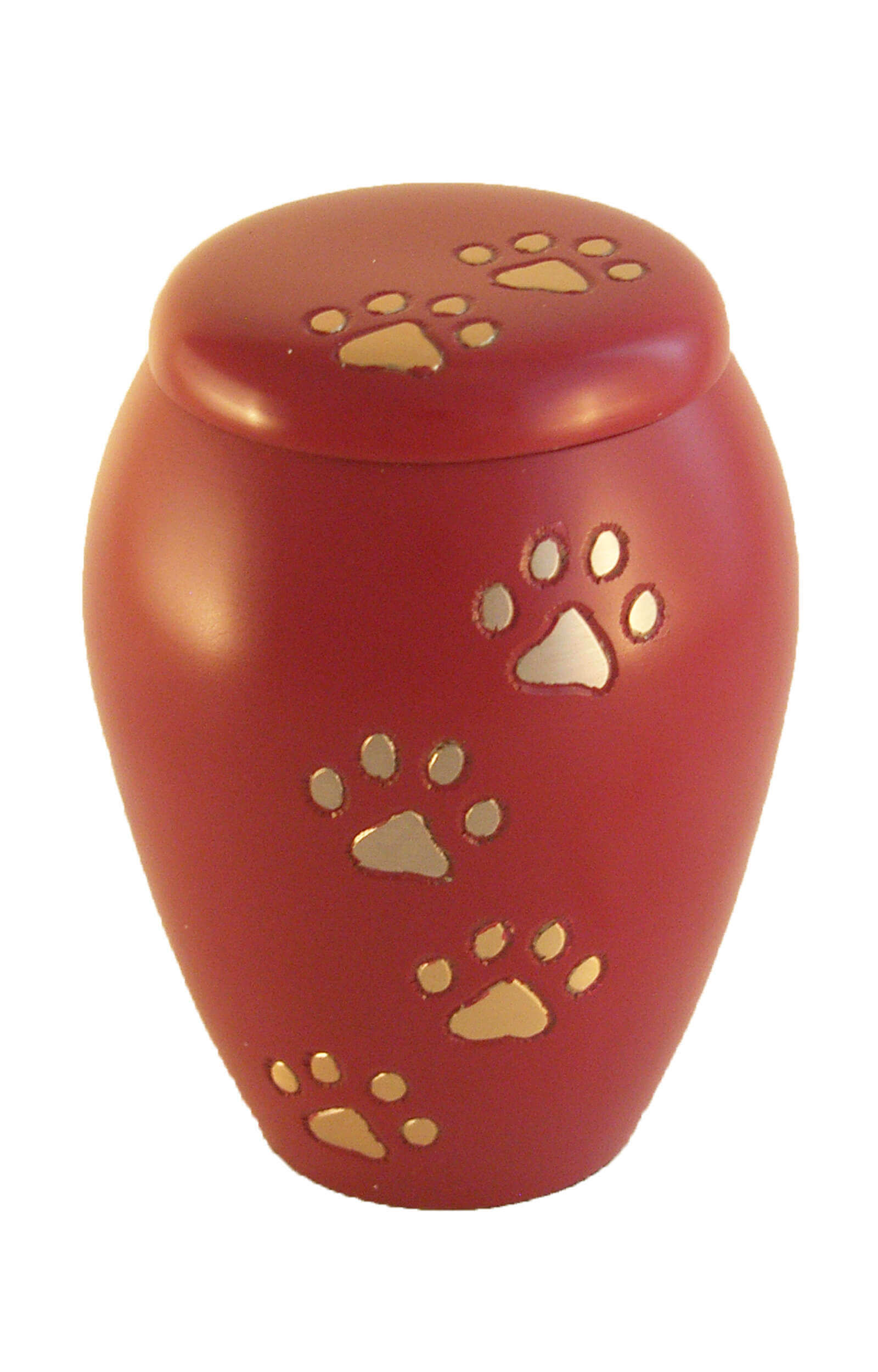 en TIB6046S ruby red and gold pawprint pet urn jpg